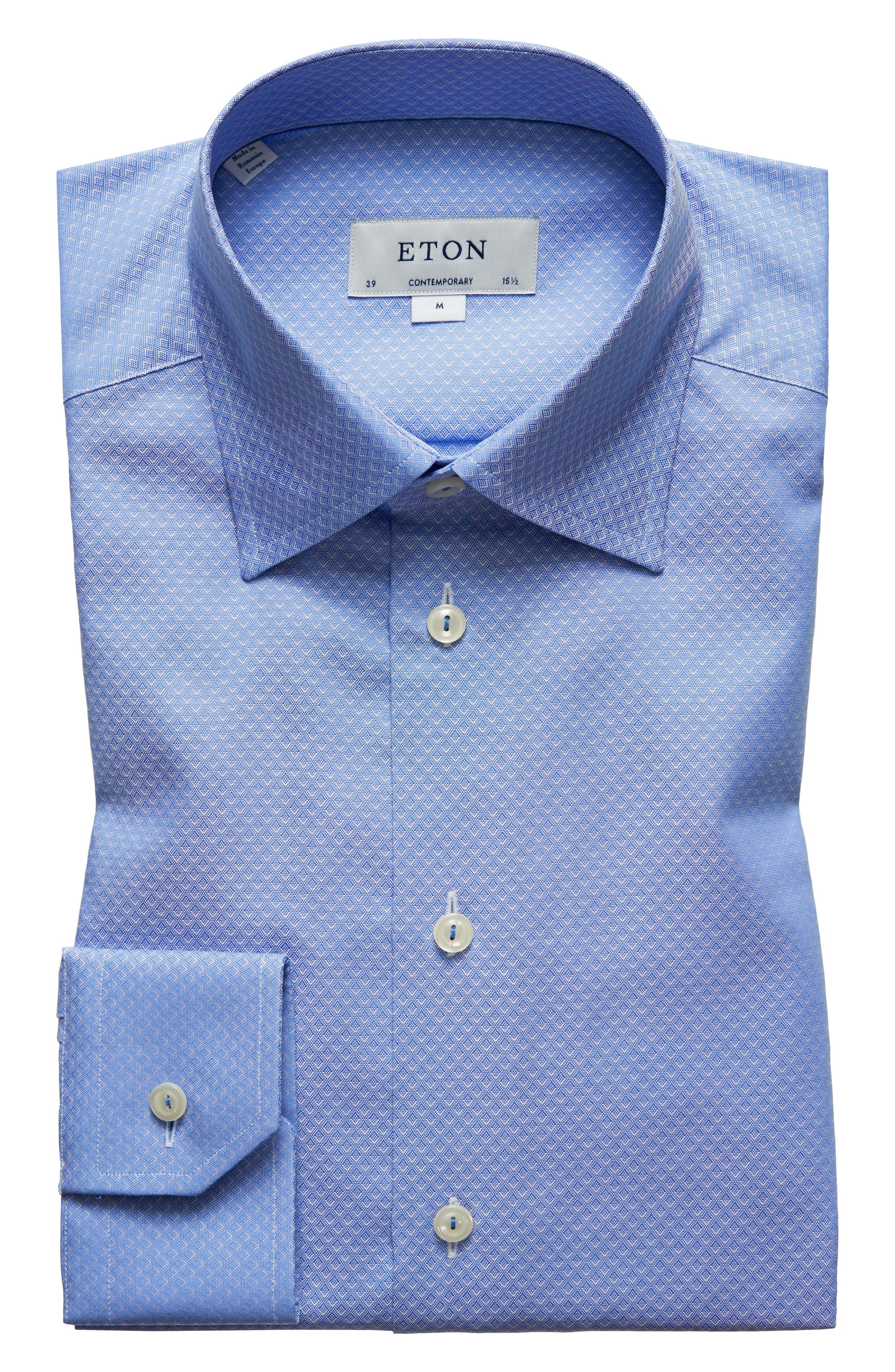 Contemporary Fit Geometric Dress Shirt,                         Main,                         color, Blue