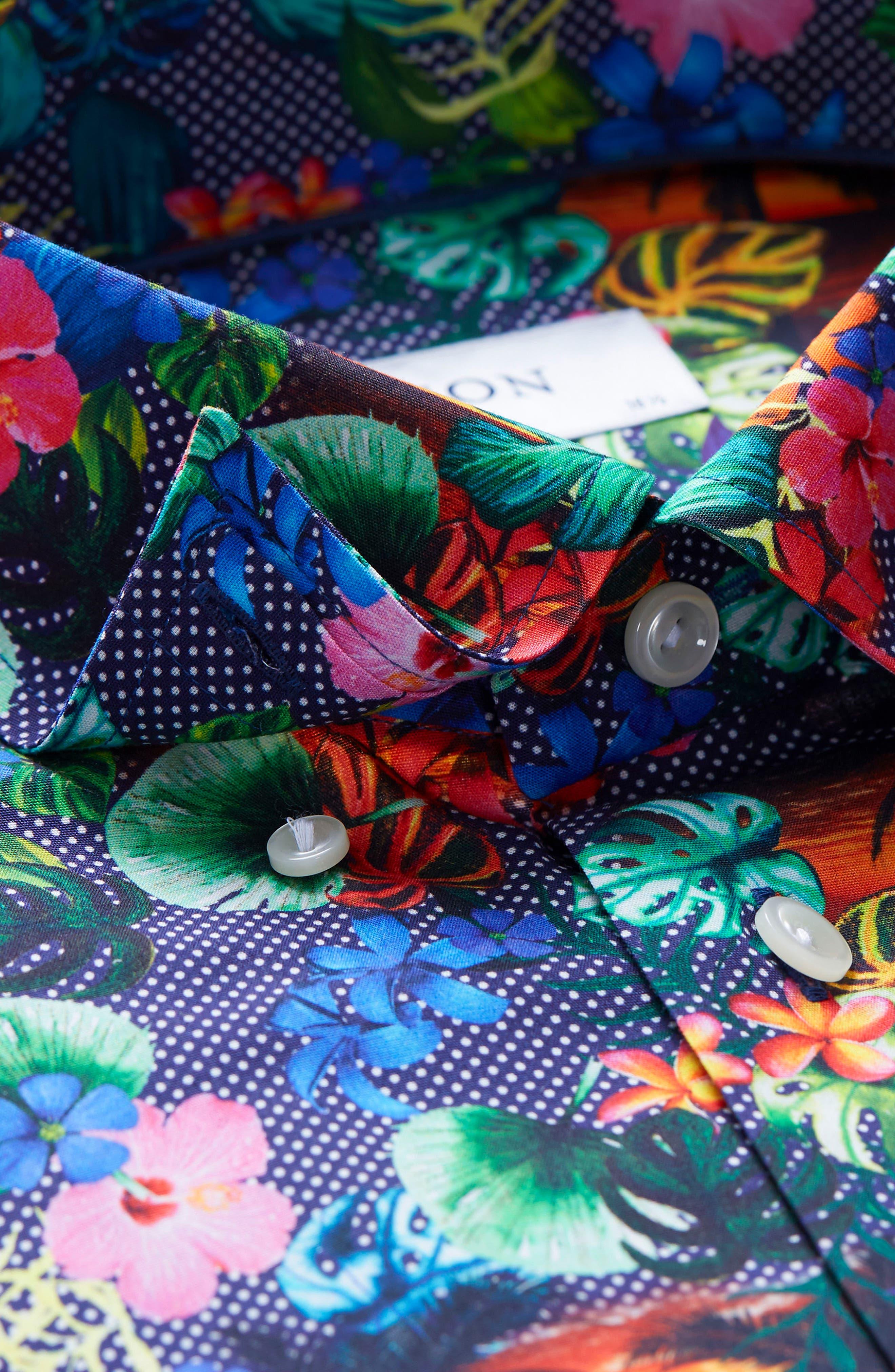 Slim Fit Tropical Dress Shirt,                             Alternate thumbnail 2, color,                             Multi