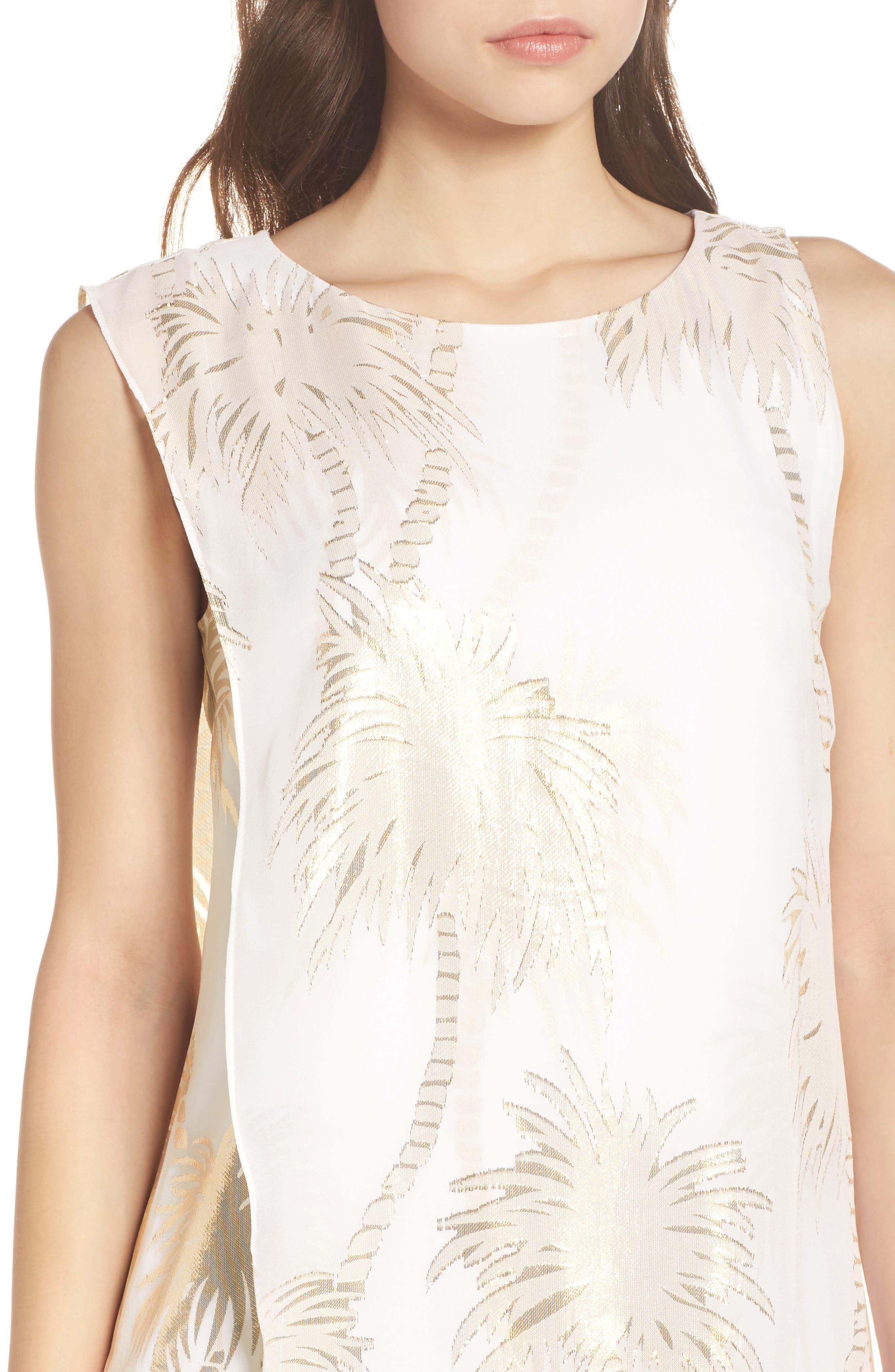 Calissa Silk Dress,                             Alternate thumbnail 4, color,                             Resort White Palm Tree Clip
