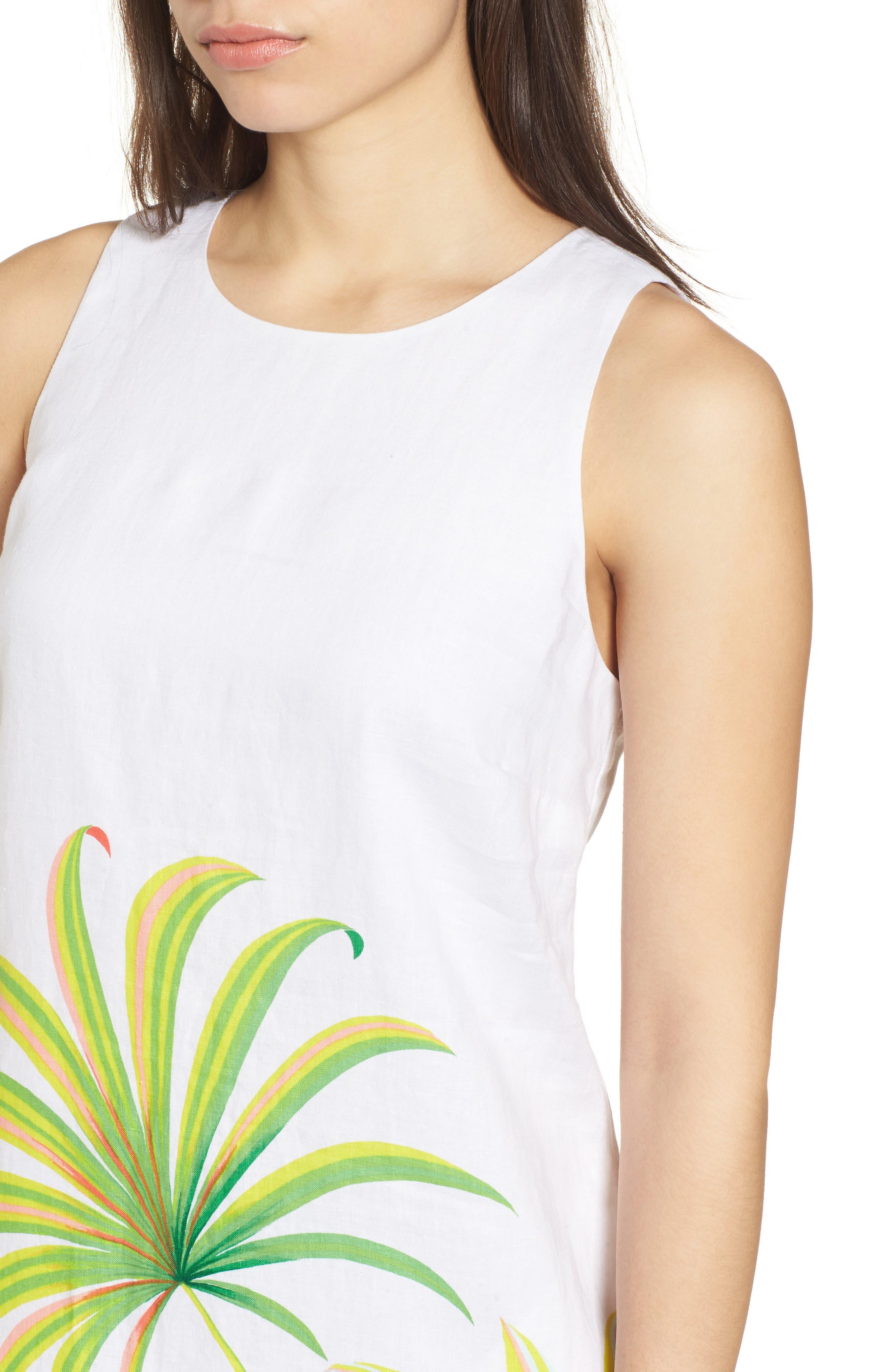 Cricue de Palm Shift Dress,                             Alternate thumbnail 4, color,                             White