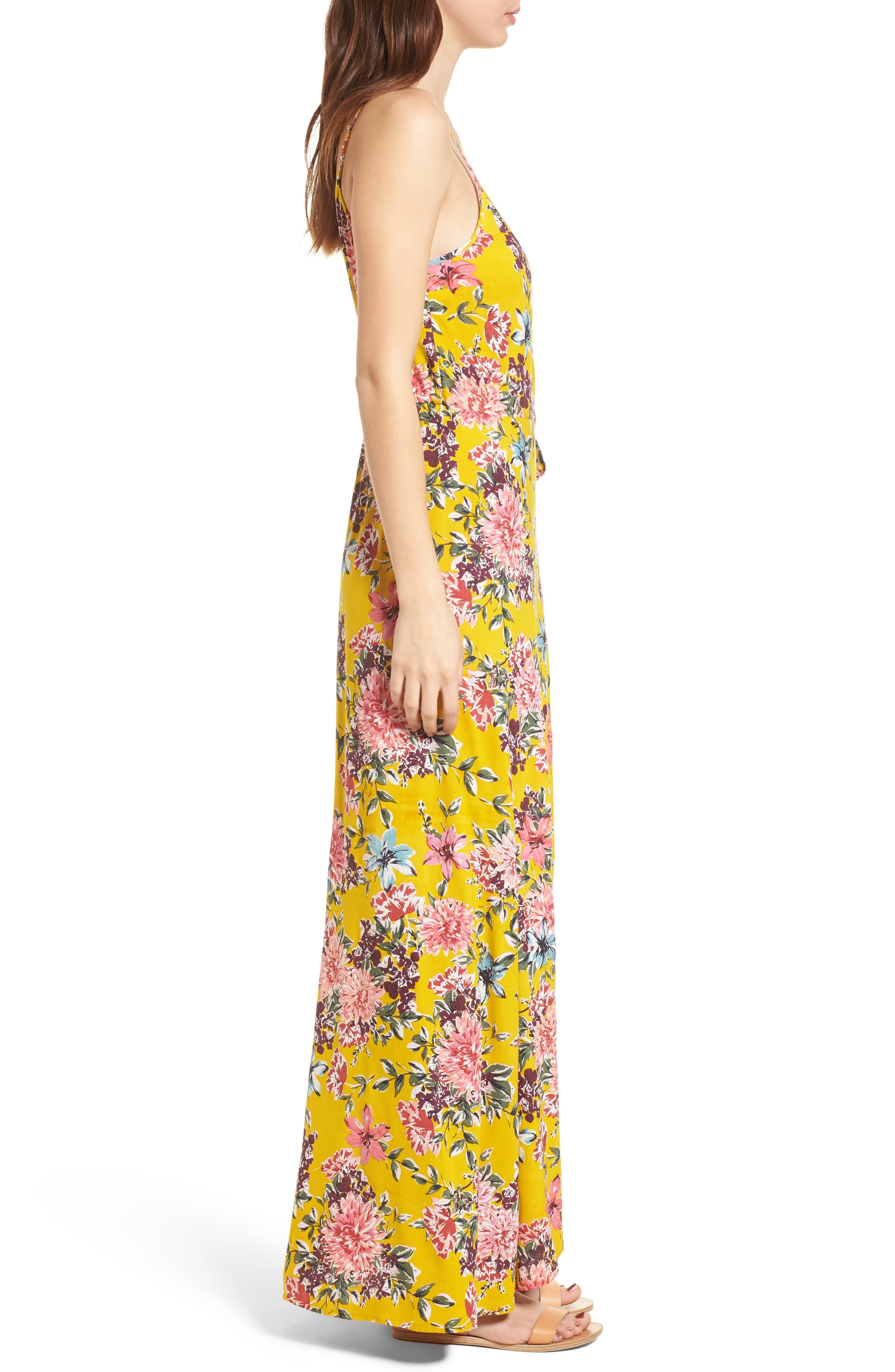 Chrysanthemum Wrap Front Dress,                             Alternate thumbnail 3, color,                             Mustard/ Pink