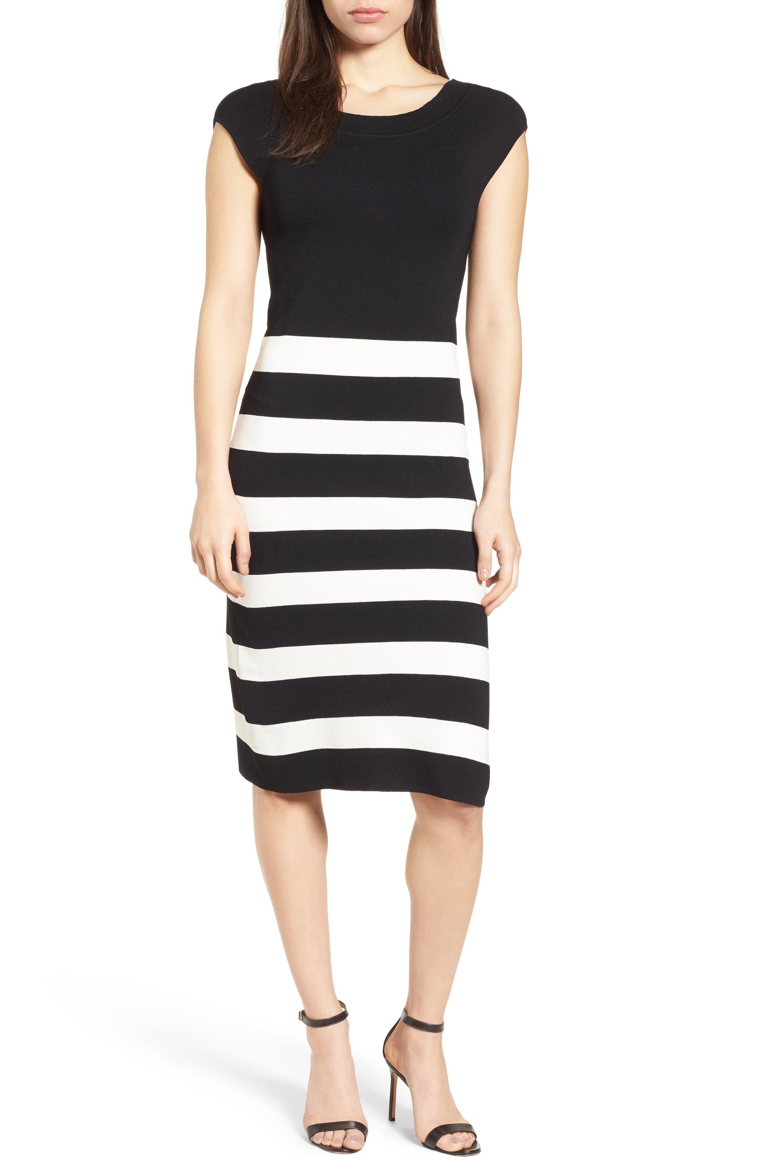 Bow Back Striped Sweater Dress,                             Main thumbnail 1, color,                             Black/ White