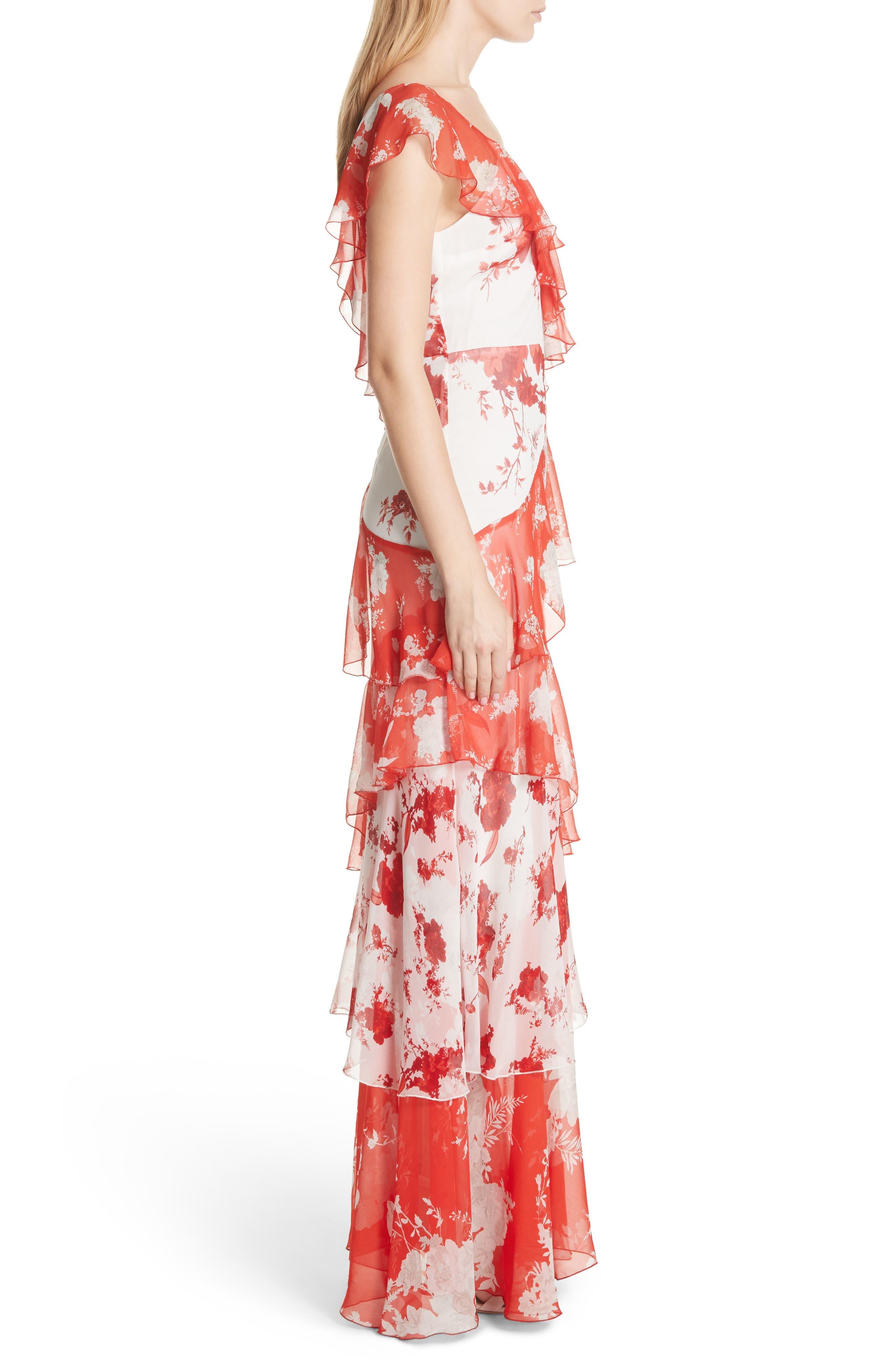 Olympia Asymmetrical Silk Maxi Dress,                             Alternate thumbnail 3, color,                             Damask Rose- Soft White