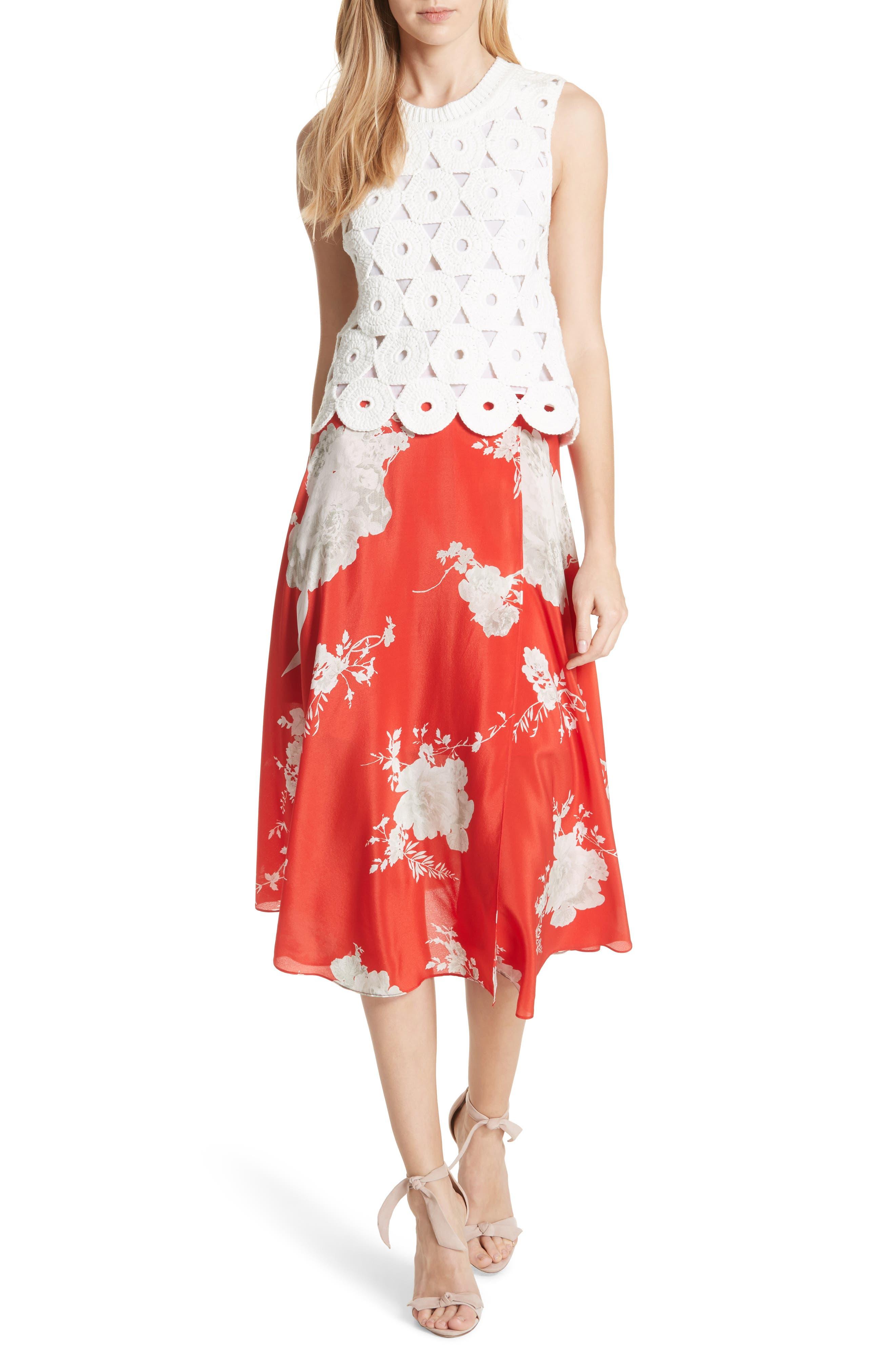 Nanette Faux Wrap Floral Silk Skirt,                             Alternate thumbnail 5, color,                             Damask Rose- Poppy