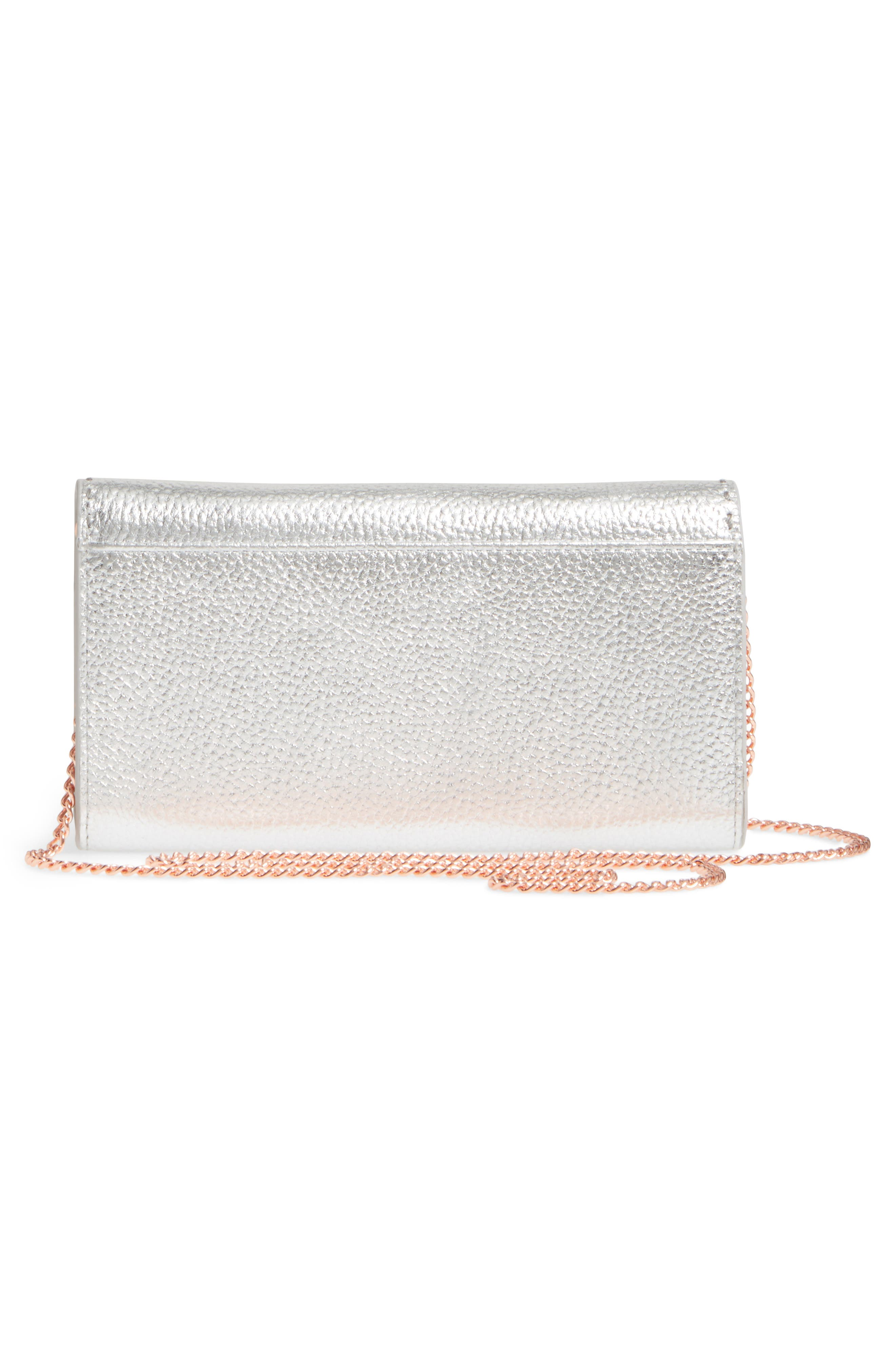 Janet Metallic Leather Crossbody Matinée Wallet on a Chain,                             Alternate thumbnail 3, color,                             Silver