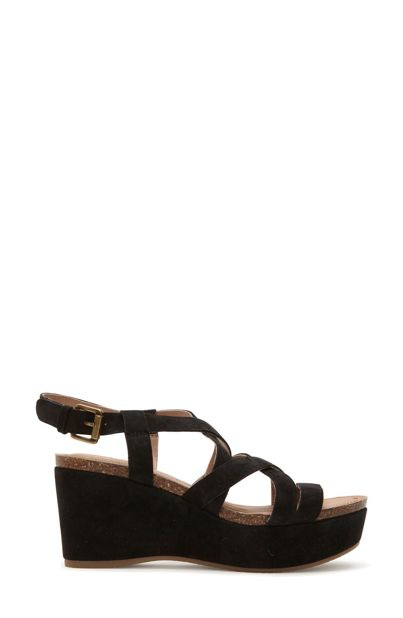 Adam Tucker Bria Strappy Sandal,                             Alternate thumbnail 3, color,                             Black Suede
