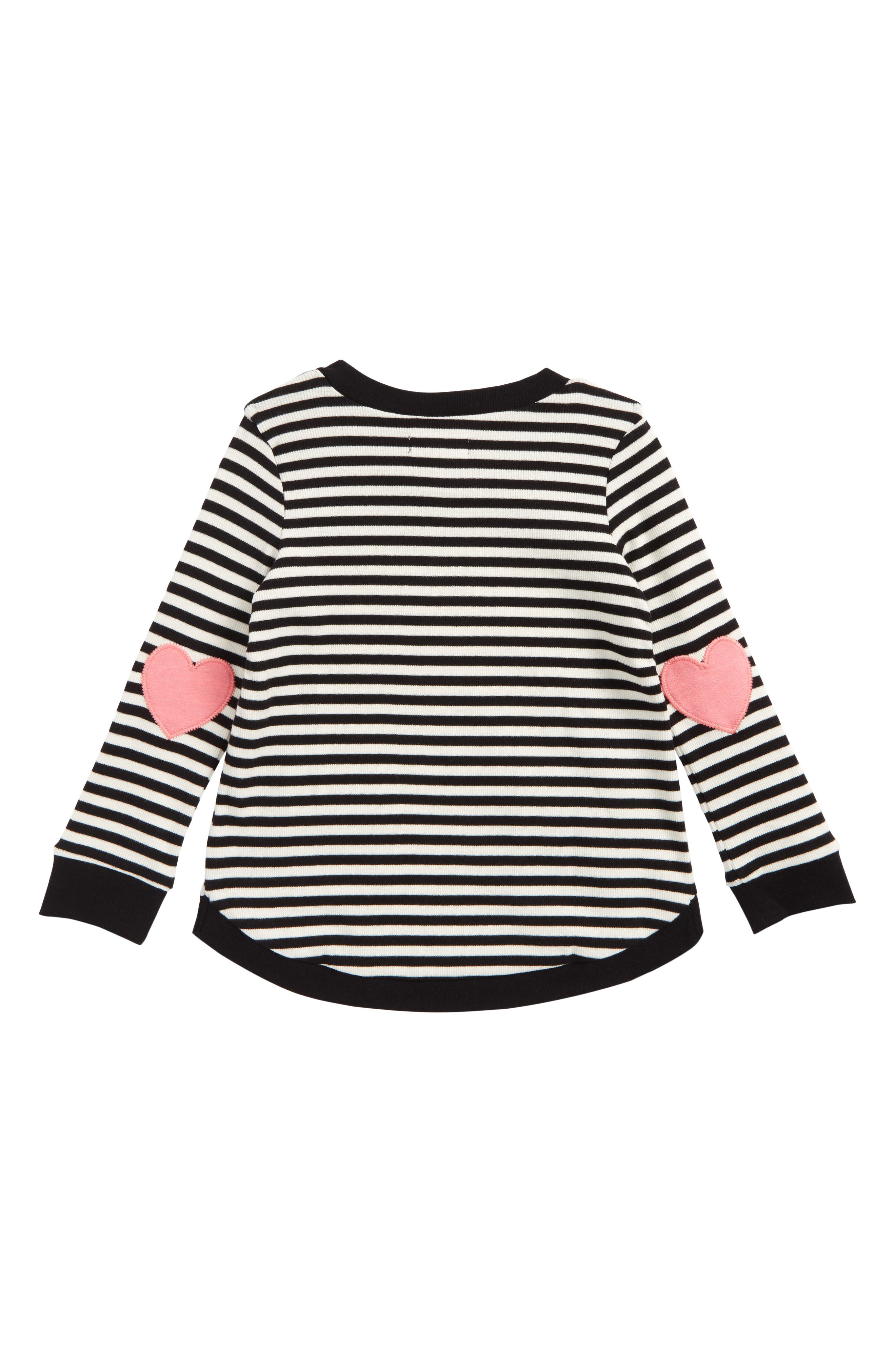Heart Elbow Patch Stripe Tunic Top,                             Alternate thumbnail 2, color,                             Black Rock- Ivory Stripe