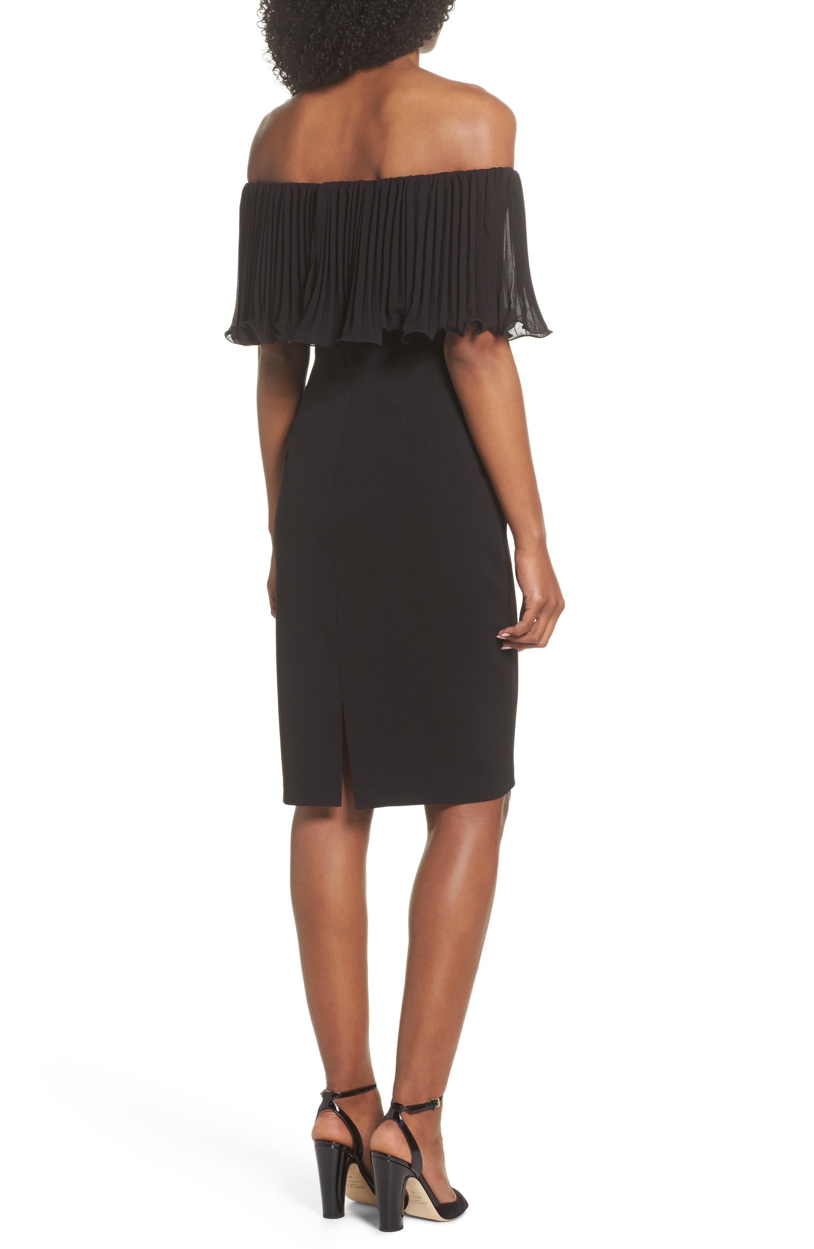 Pleat Ruffle Off the Shoulder Dress,                             Alternate thumbnail 2, color,                             Black