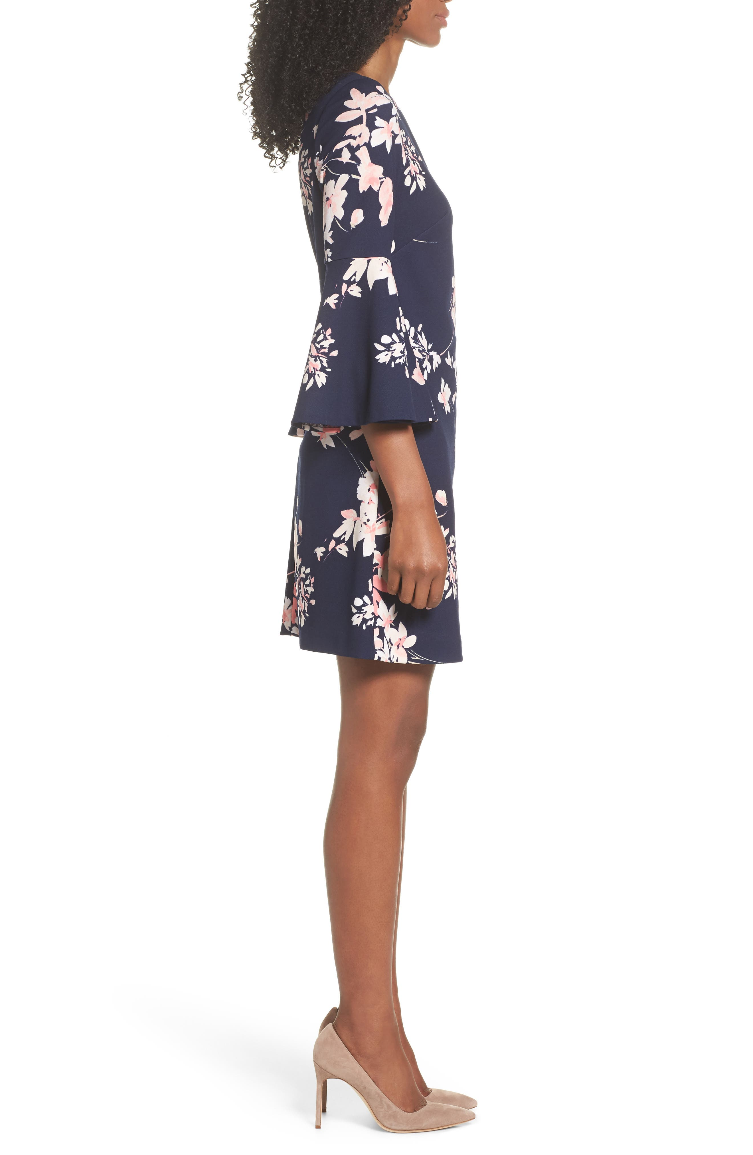 Floral Bell Sleeve Dress,                             Alternate thumbnail 3, color,                             Navy/ Pink
