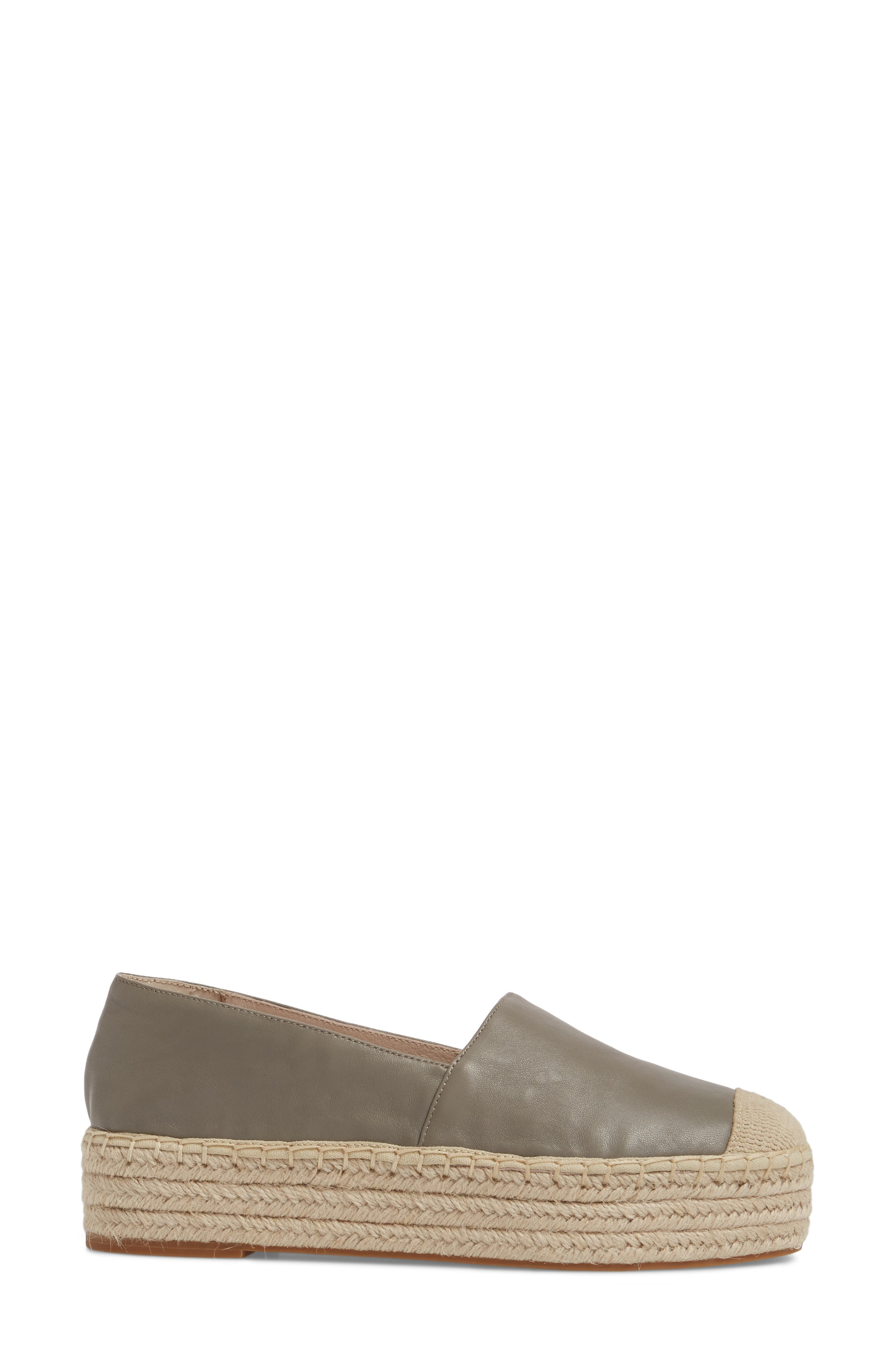 Collins Lea Espadrille Platform Slip-On,                             Alternate thumbnail 3, color,                             Grey Leather