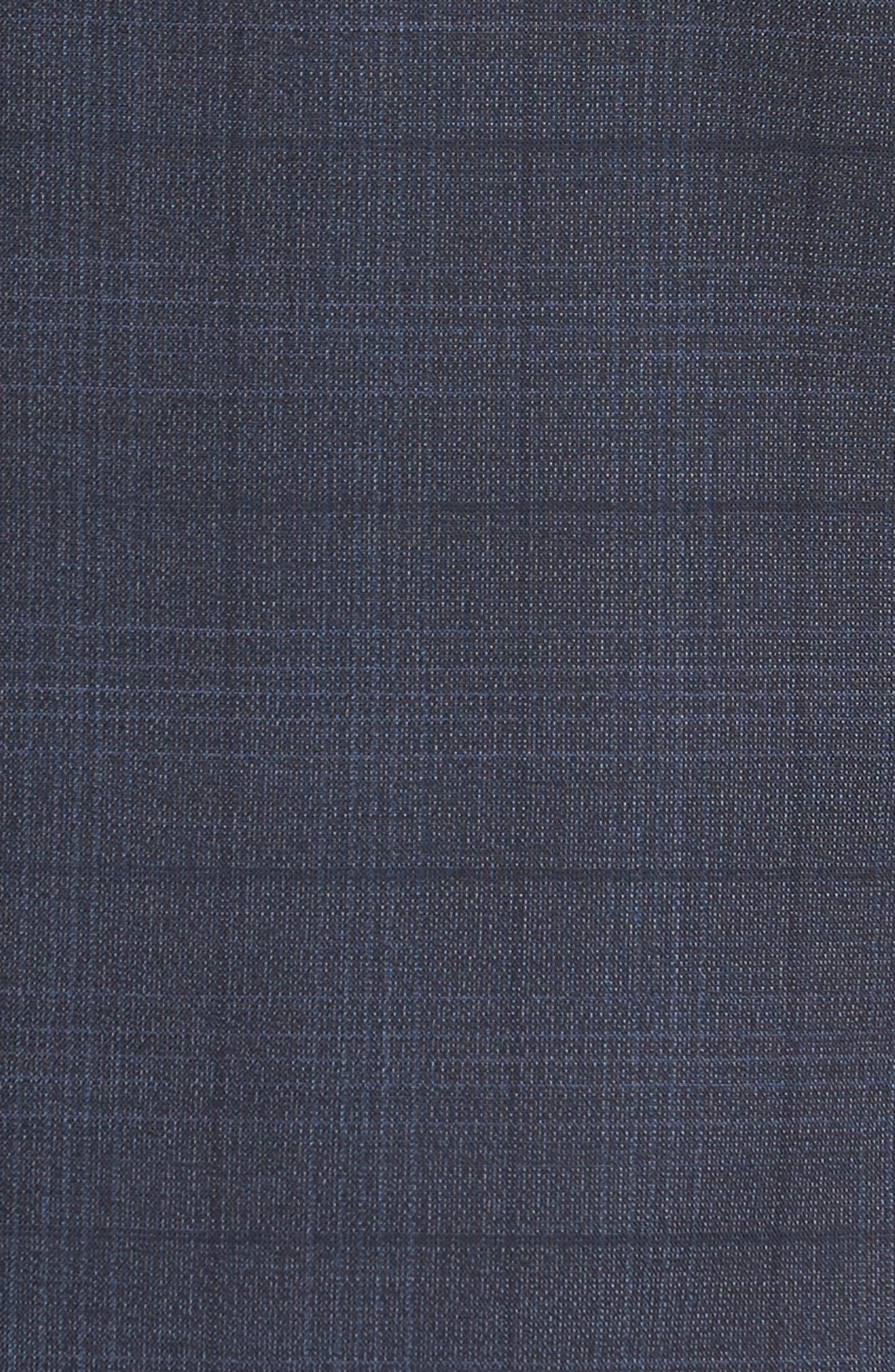 Extra Trim Fit Plaid Wool Suit,                             Alternate thumbnail 6, color,                             Navy Blue