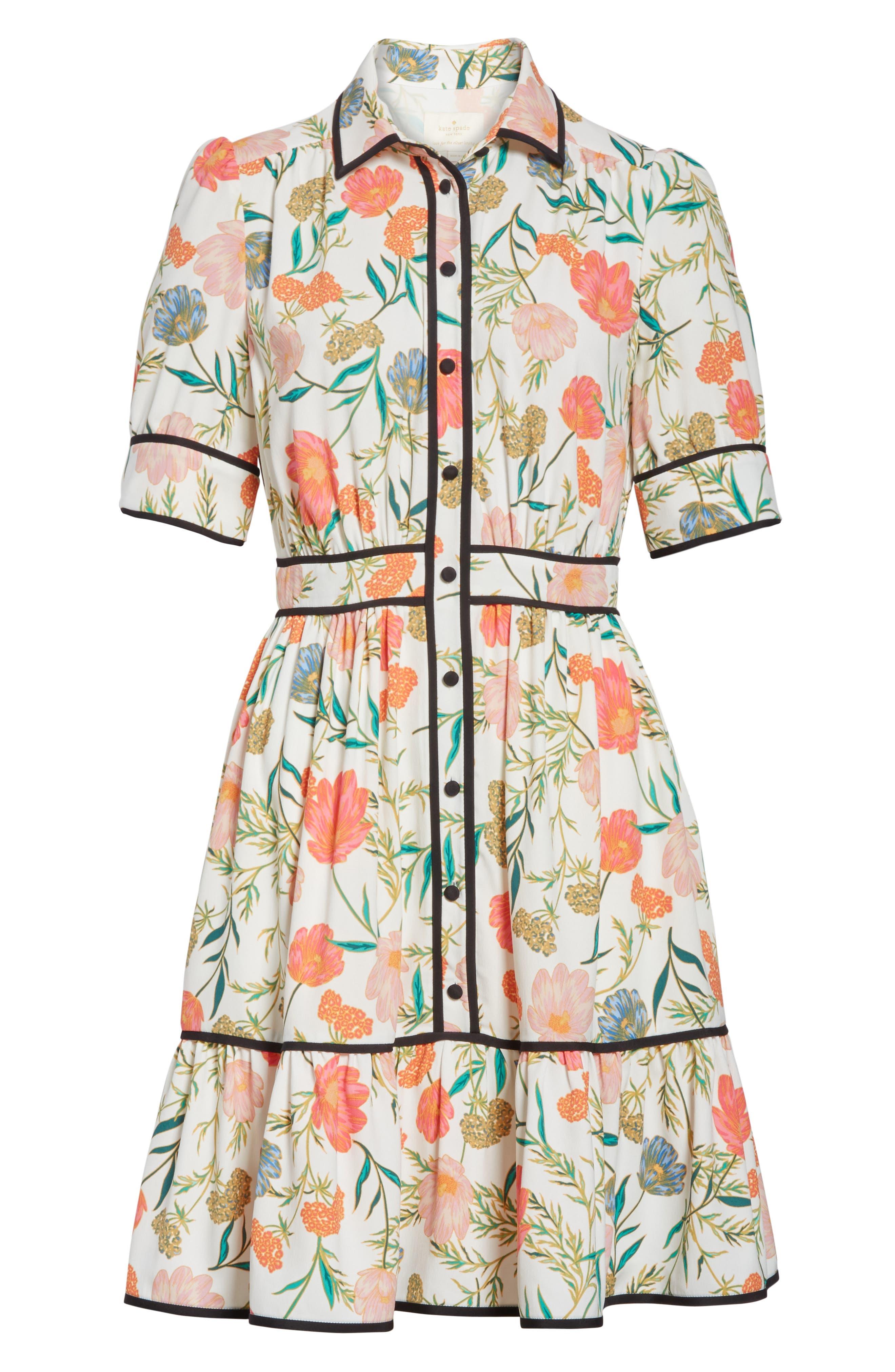 blossom print fluid shirtdress,                             Alternate thumbnail 6, color,                             Cream
