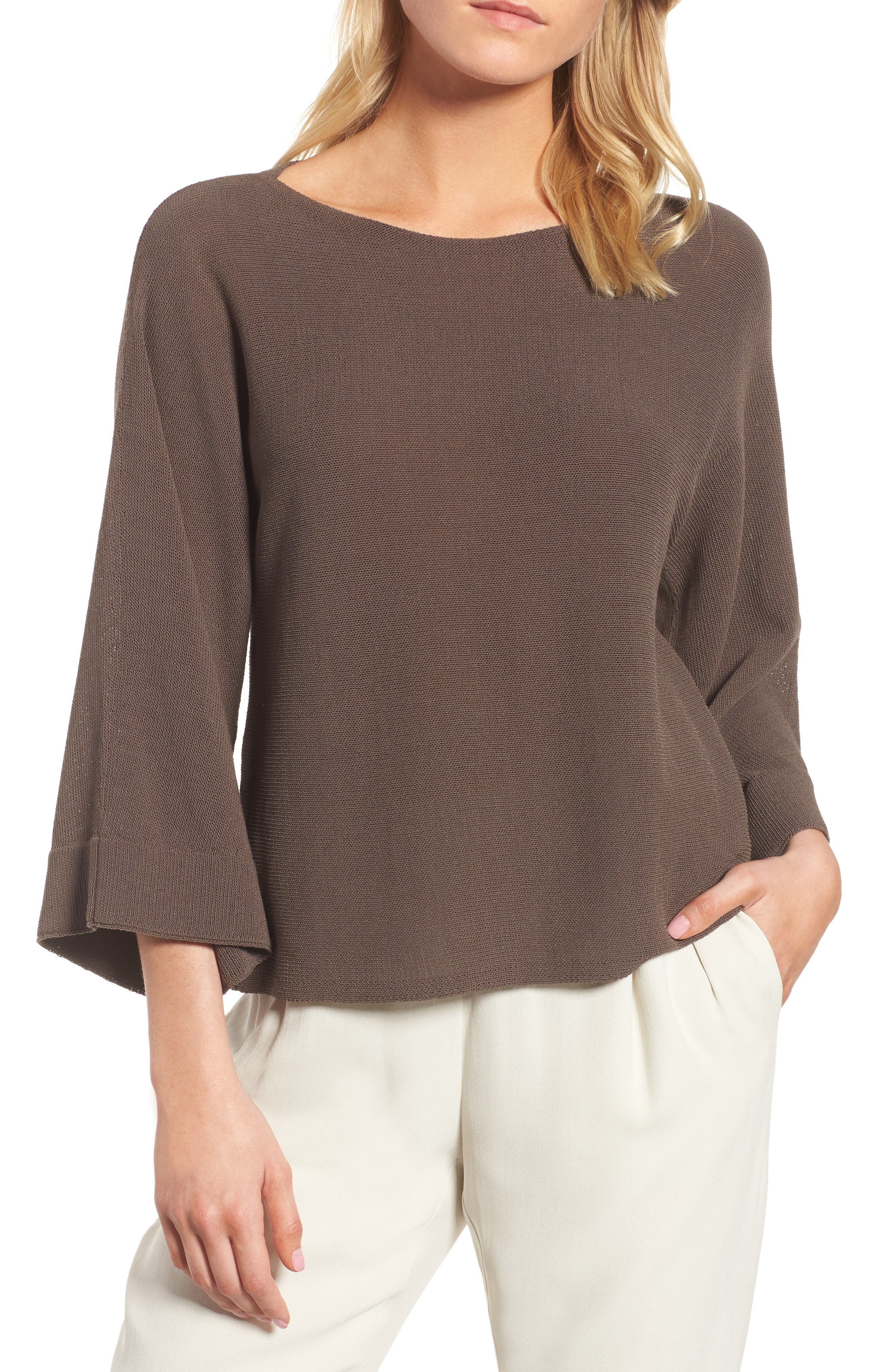 Organic Cotton Blend Sweater,                         Main,                         color, Rye