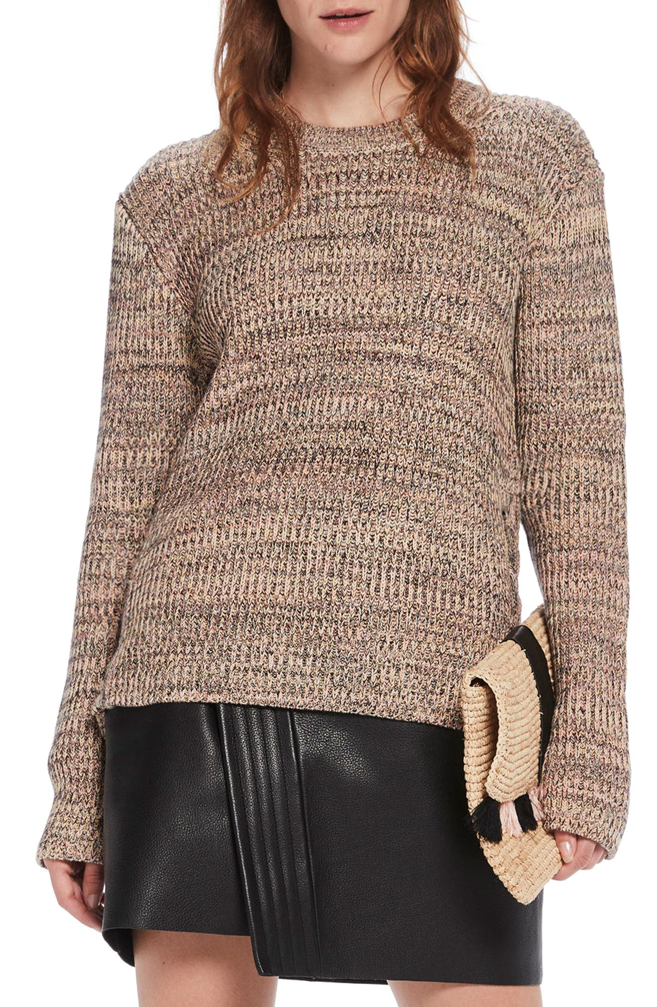 Ribbed Lace-Up Side Sweater,                         Main,                         color, Combo B