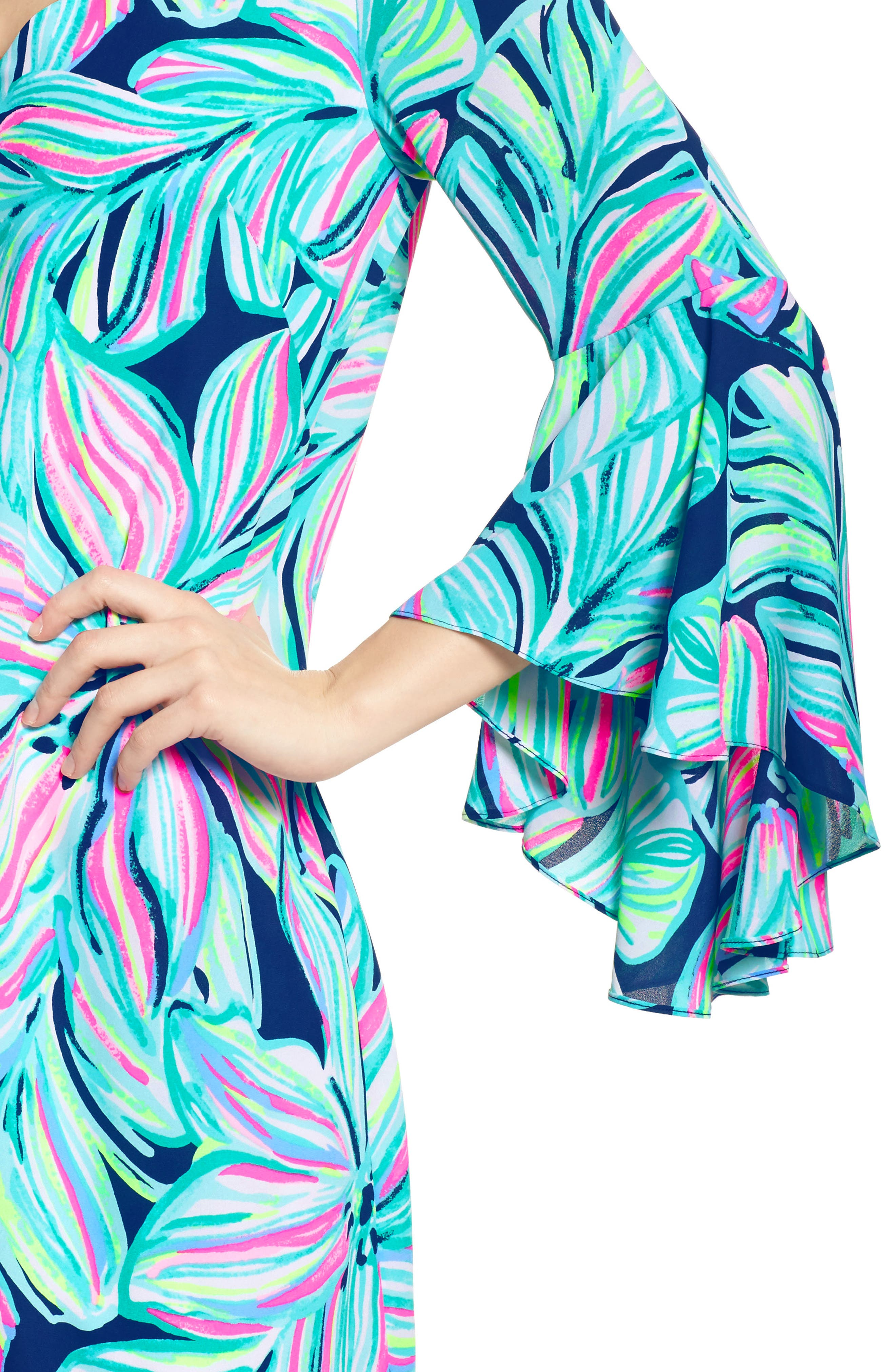 Rosalia Bell Sleeve A-Line Dress,                             Alternate thumbnail 4, color,                             High Tide Navy Dancing Lady