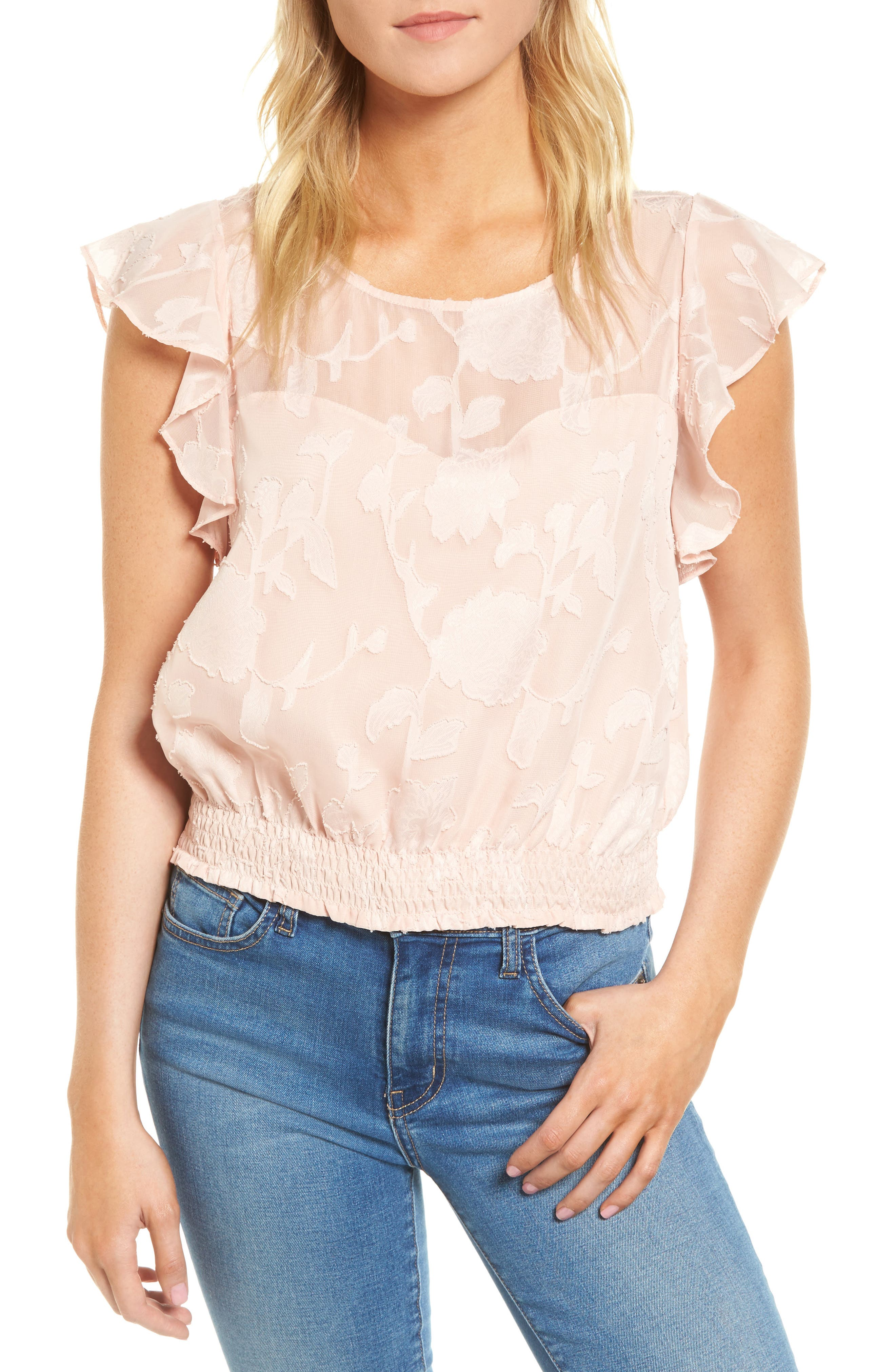 Banyan Floral Burnout Top,                         Main,                         color, Muted Peach