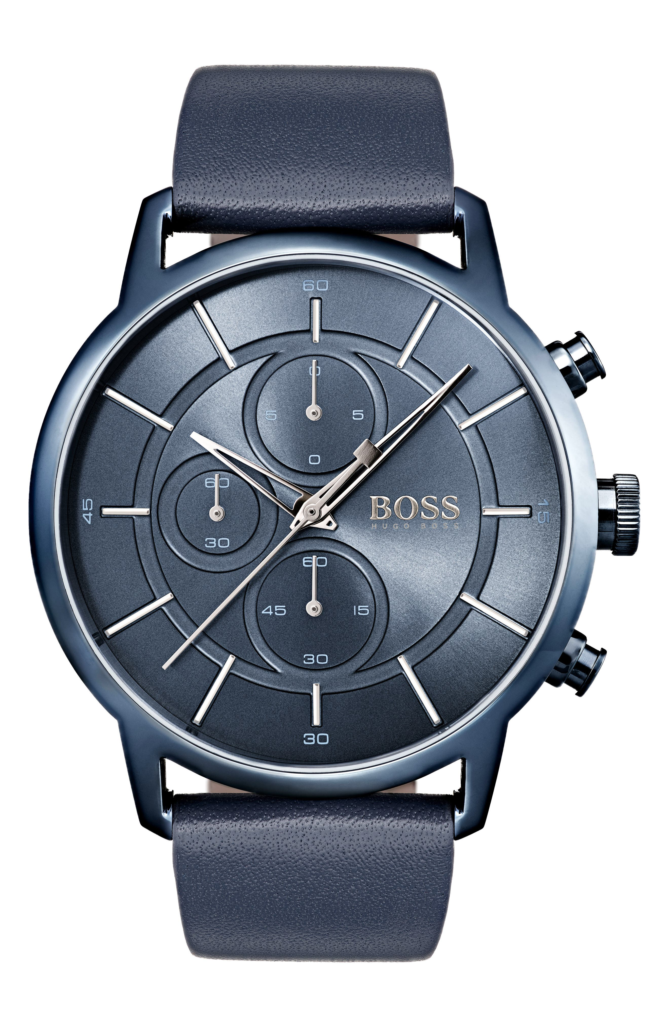 Architectural Chronograph Leather Strap Watch, 44mm,                         Main,                         color, Navy/ Navy