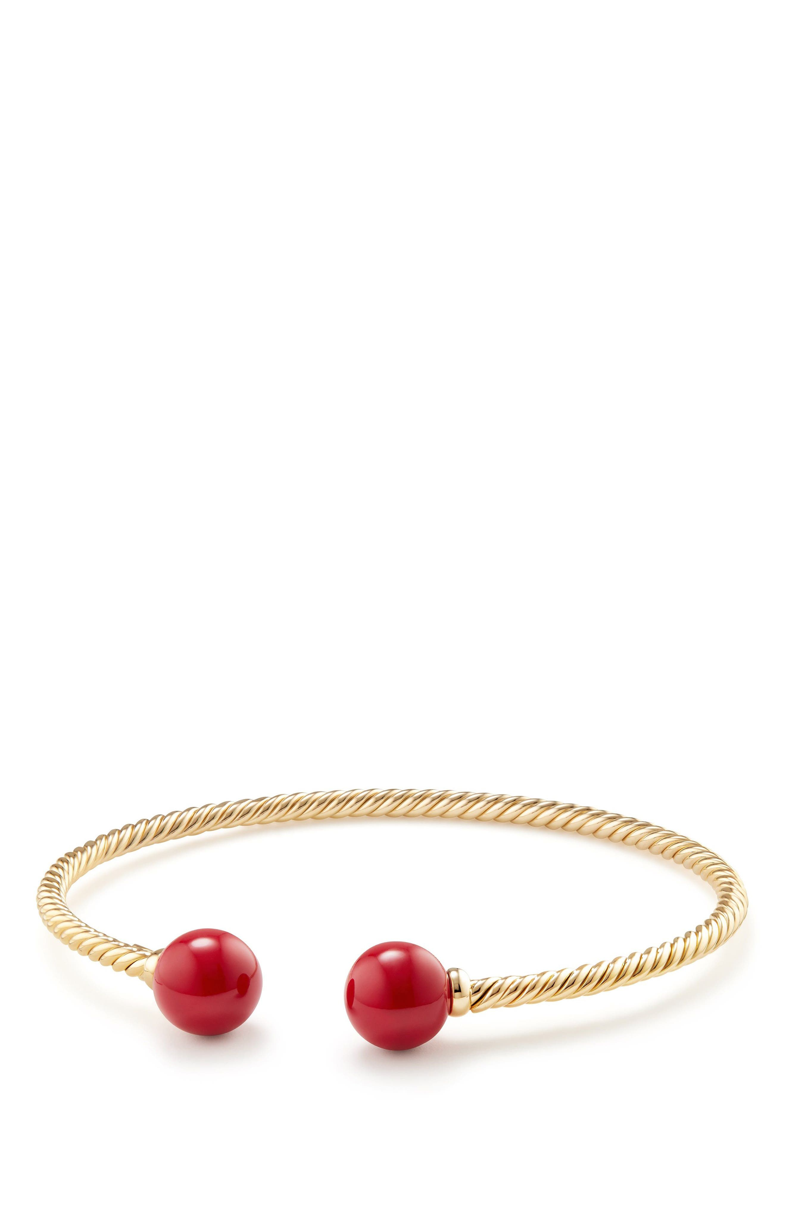 Solari Bead Bracelet with 18K Gold and Red Enamel,                             Main thumbnail 1, color,                             Yellow Gold/ Red