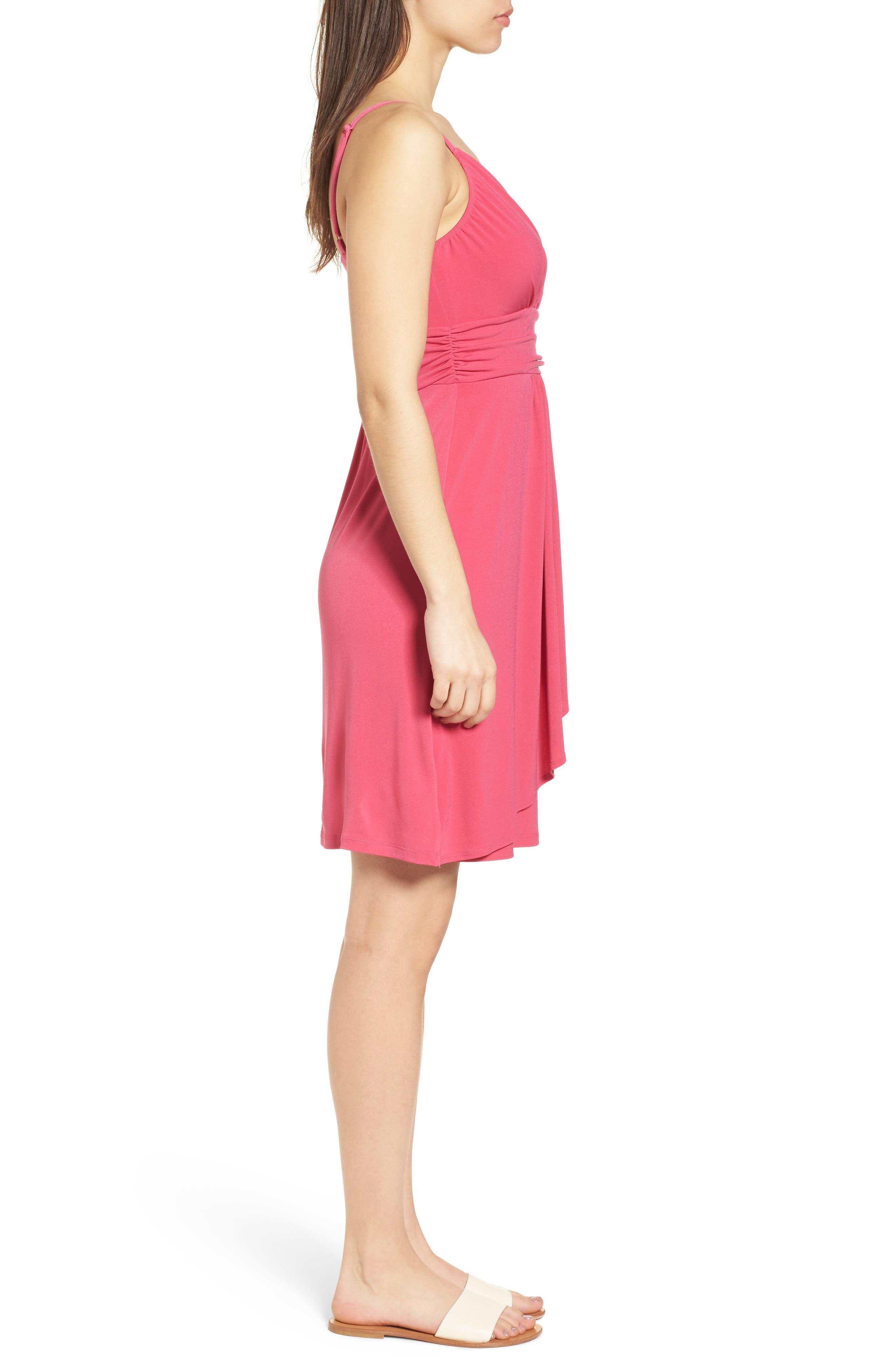 Elenna Stretch Jersey Sundress,                             Alternate thumbnail 3, color,                             Bright Blush