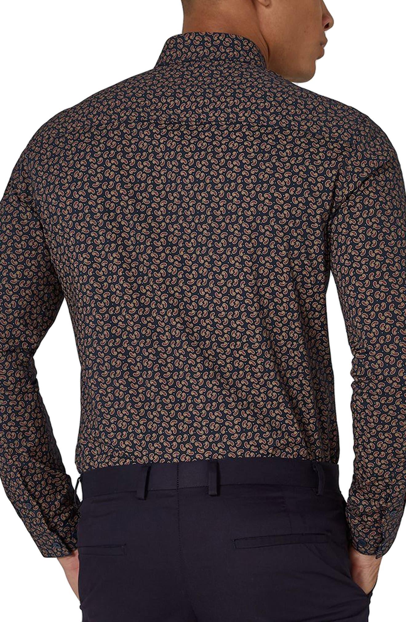 Muscle Fit Paisley Dot Sport Shirt,                             Alternate thumbnail 2, color,                             Navy Blue Multi