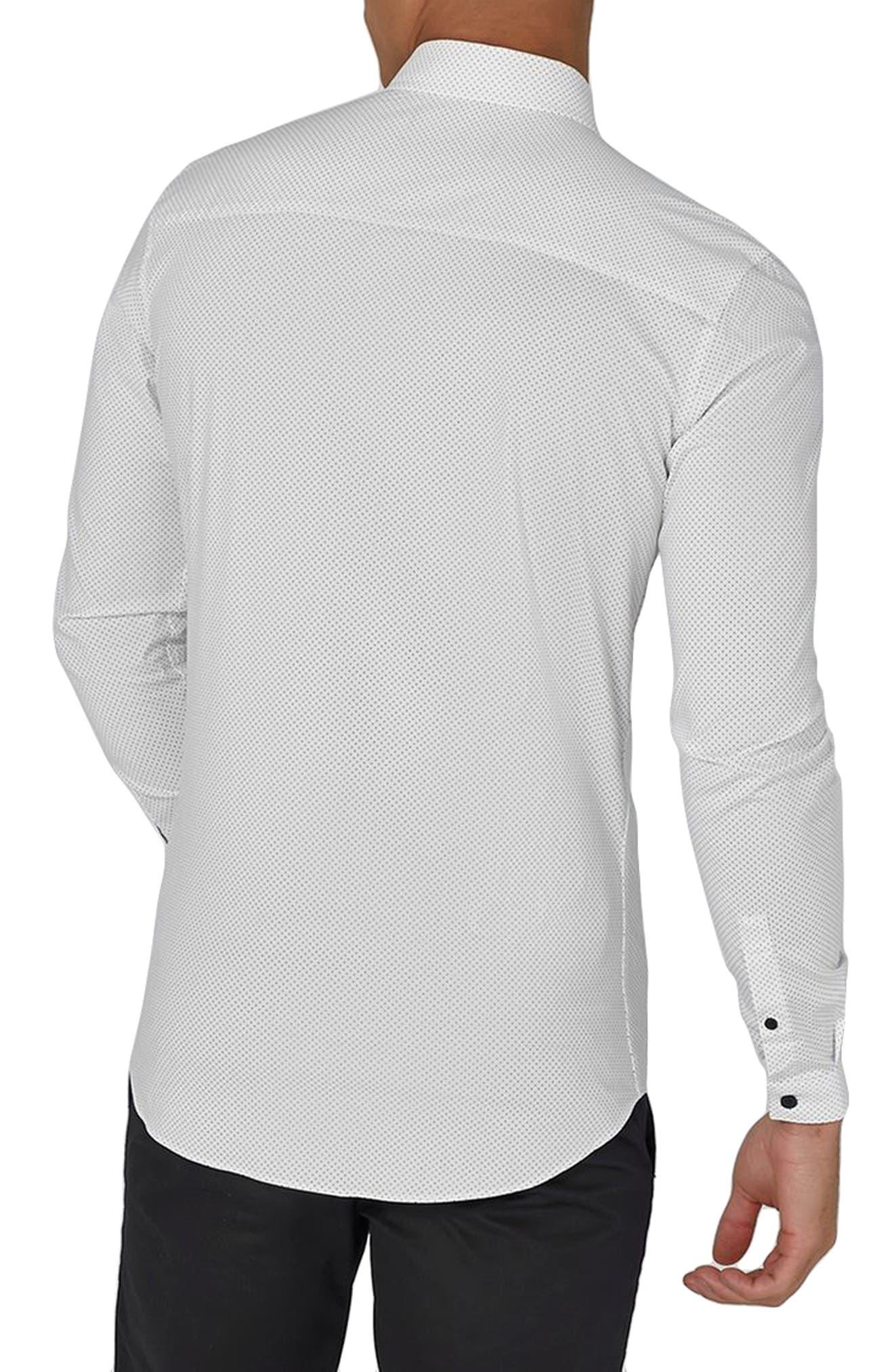 Muscle Fit Polka Dot Sport Shirt,                             Alternate thumbnail 2, color,                             White Multi
