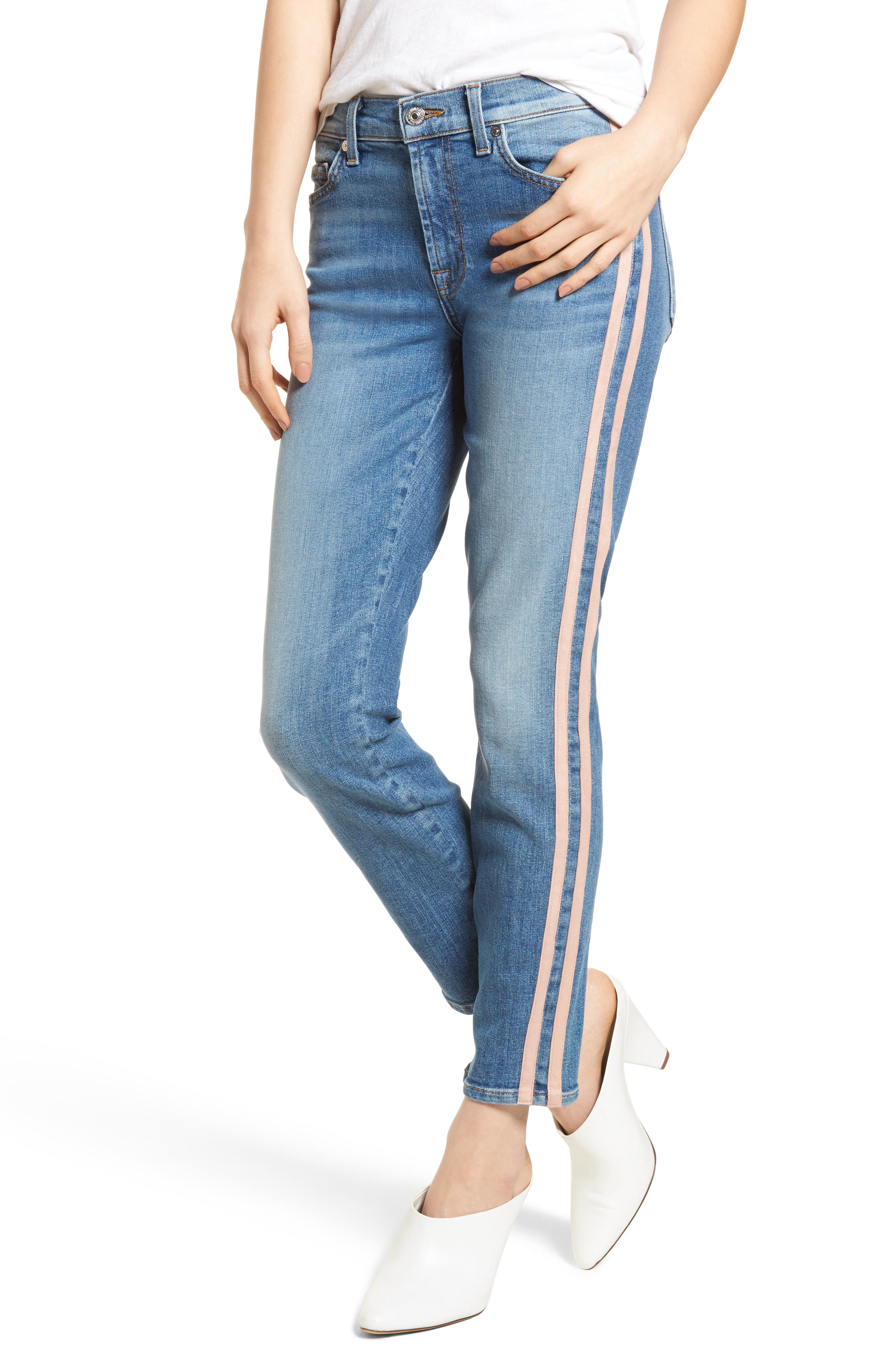 7 For All Mankind® Roxanne Faux Suede Stripe Ankle Skinny Jeans (Vintage Blue Dunes)