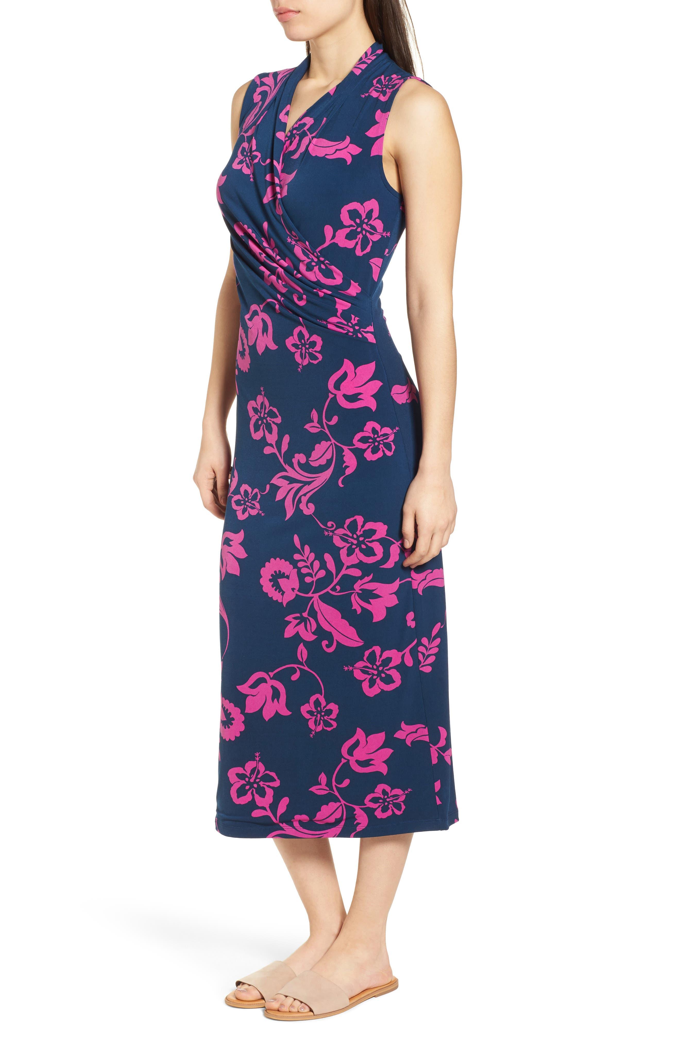 San Lucia Faux Wrap Midi Dress,                             Alternate thumbnail 3, color,                             Ocean Deep