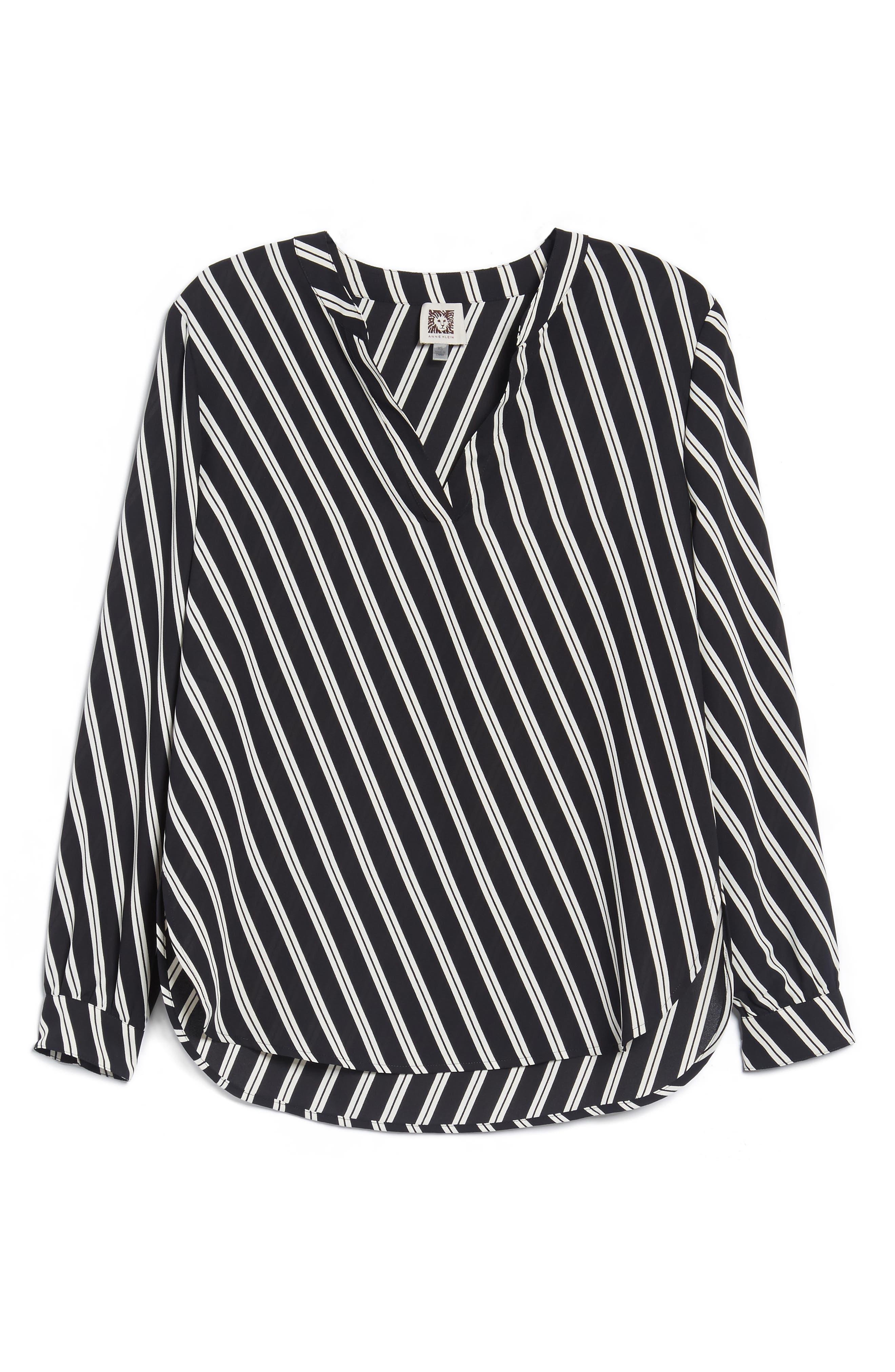 Stripe V-Neck Blouse,                             Alternate thumbnail 6, color,                             Black/ Parchment