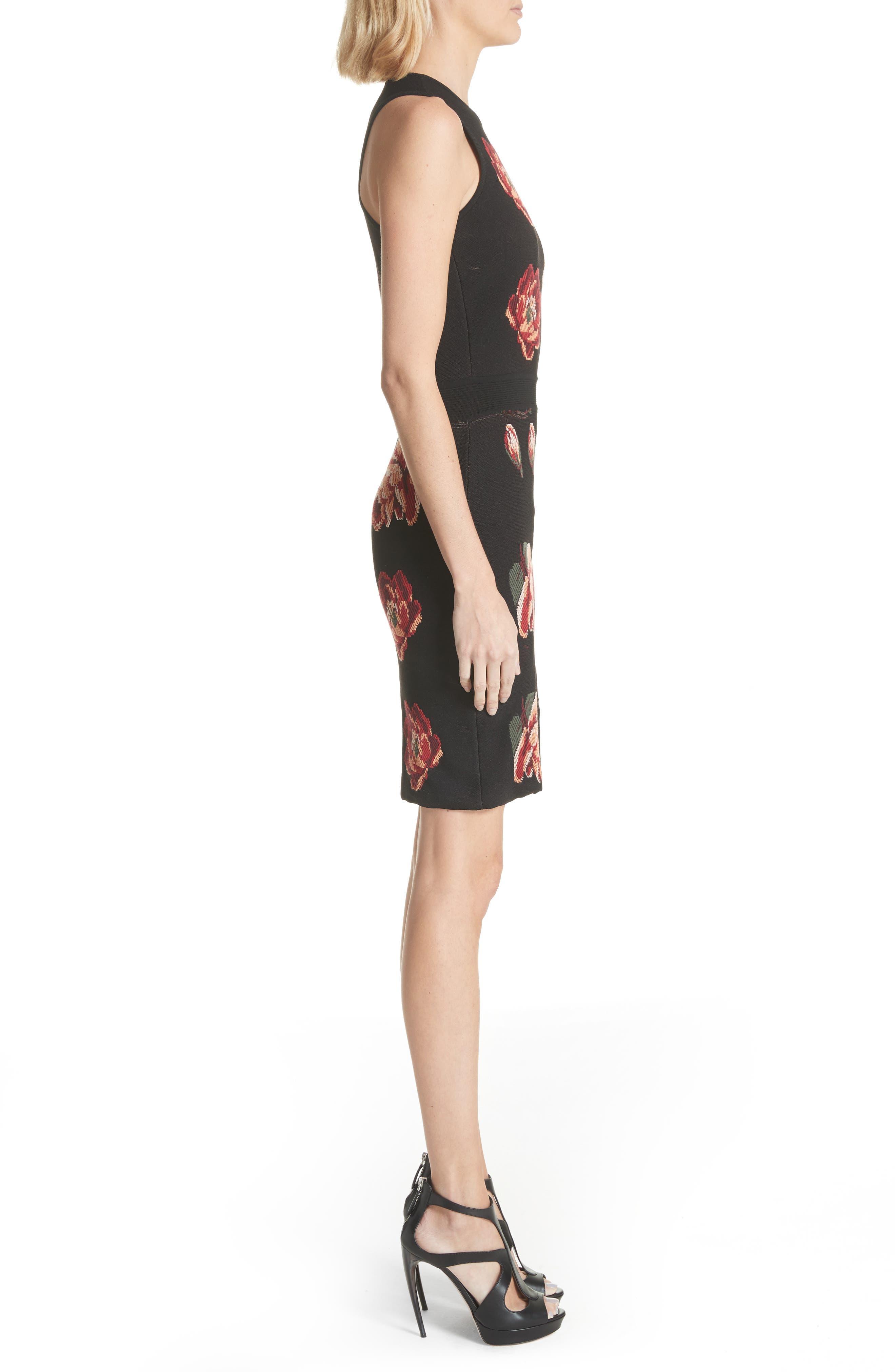 Intarsia Floral Print Dress,                             Alternate thumbnail 3, color,                             Black/ Red/ Green