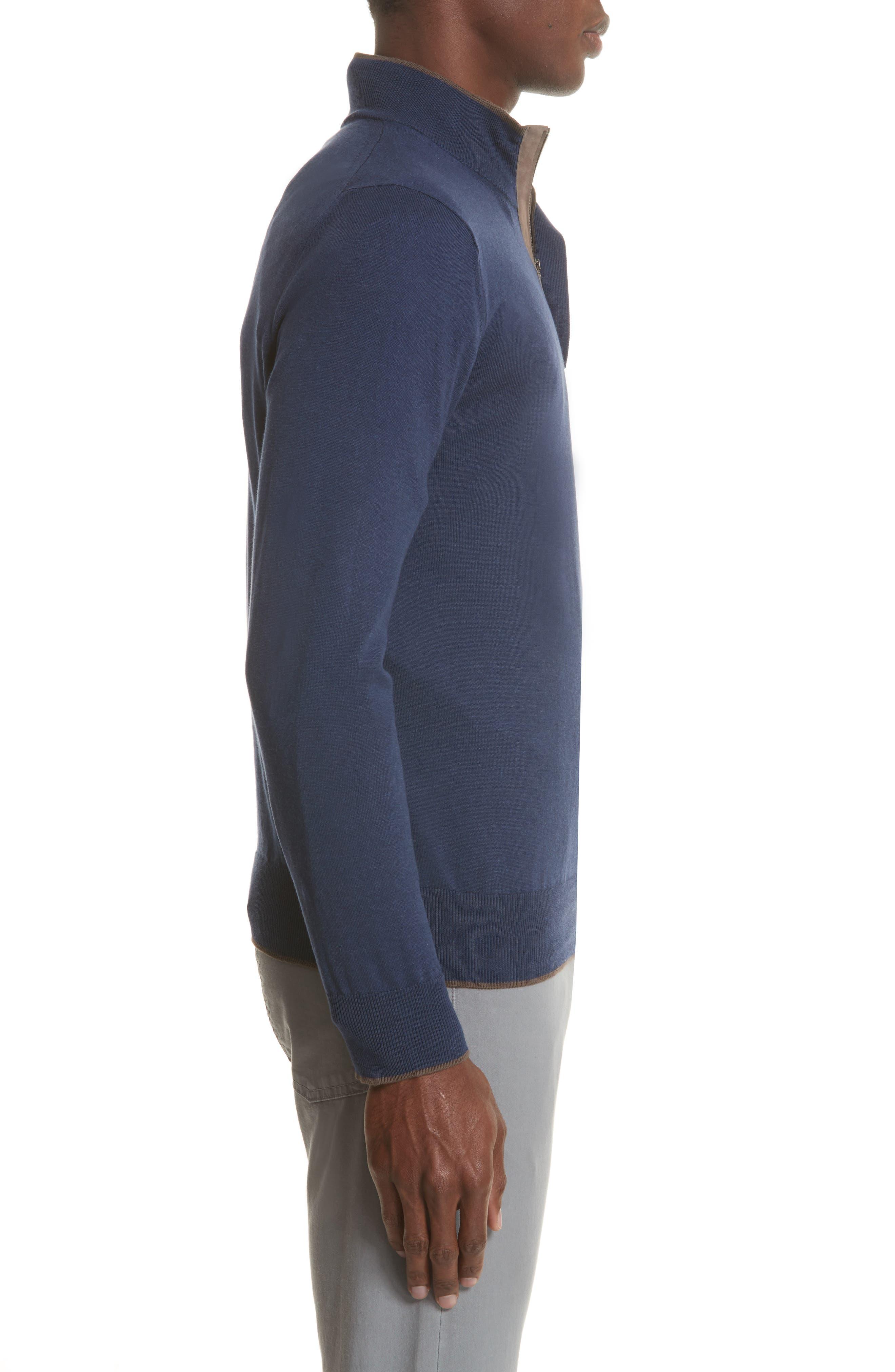 Quarter Zip Sweater,                             Alternate thumbnail 3, color,                             Dark Blue