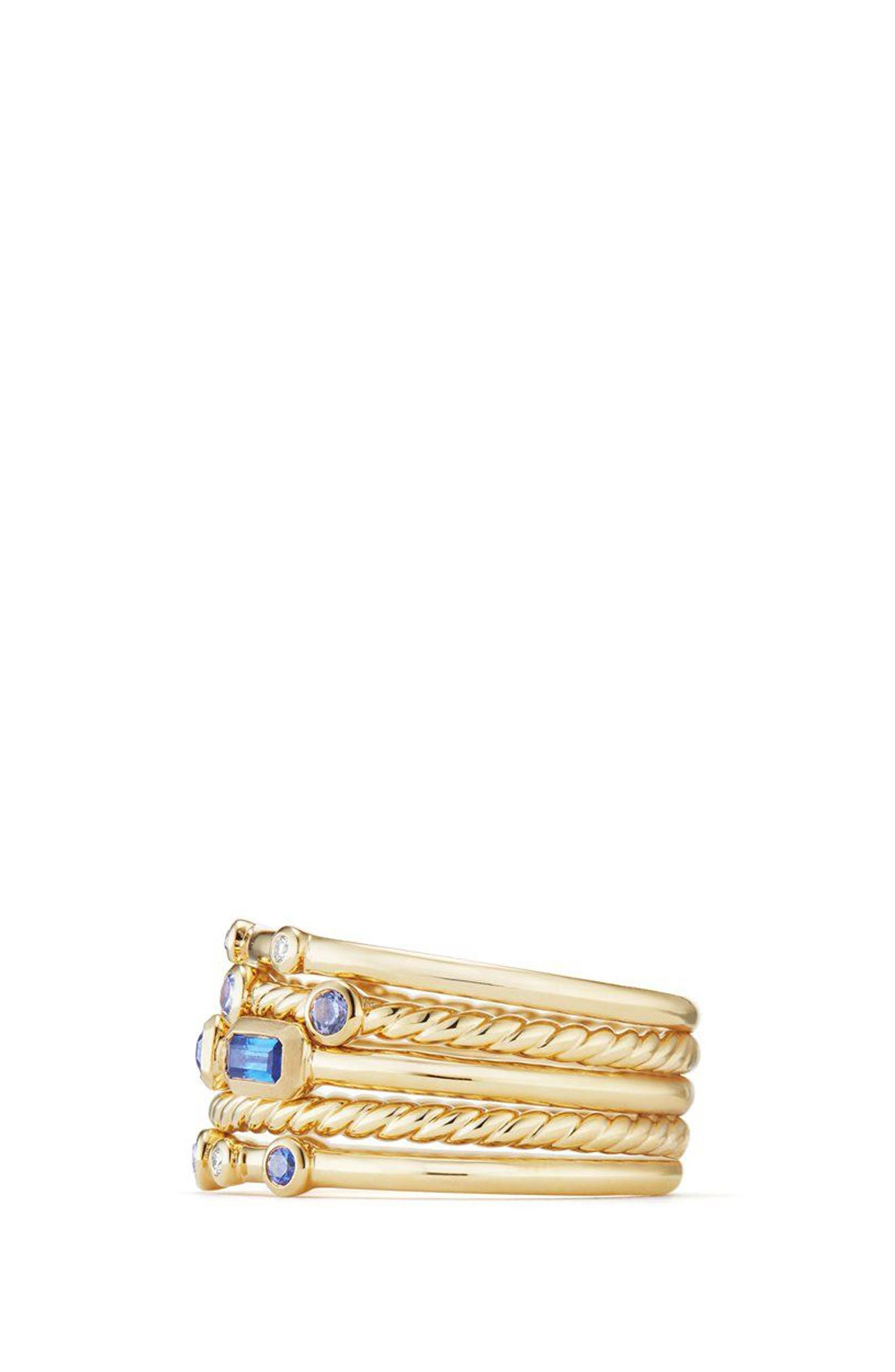 Novella Stack Ring with Diamonds,                             Alternate thumbnail 3, color,                             Gold/ Diamond/ Blue Sapphire