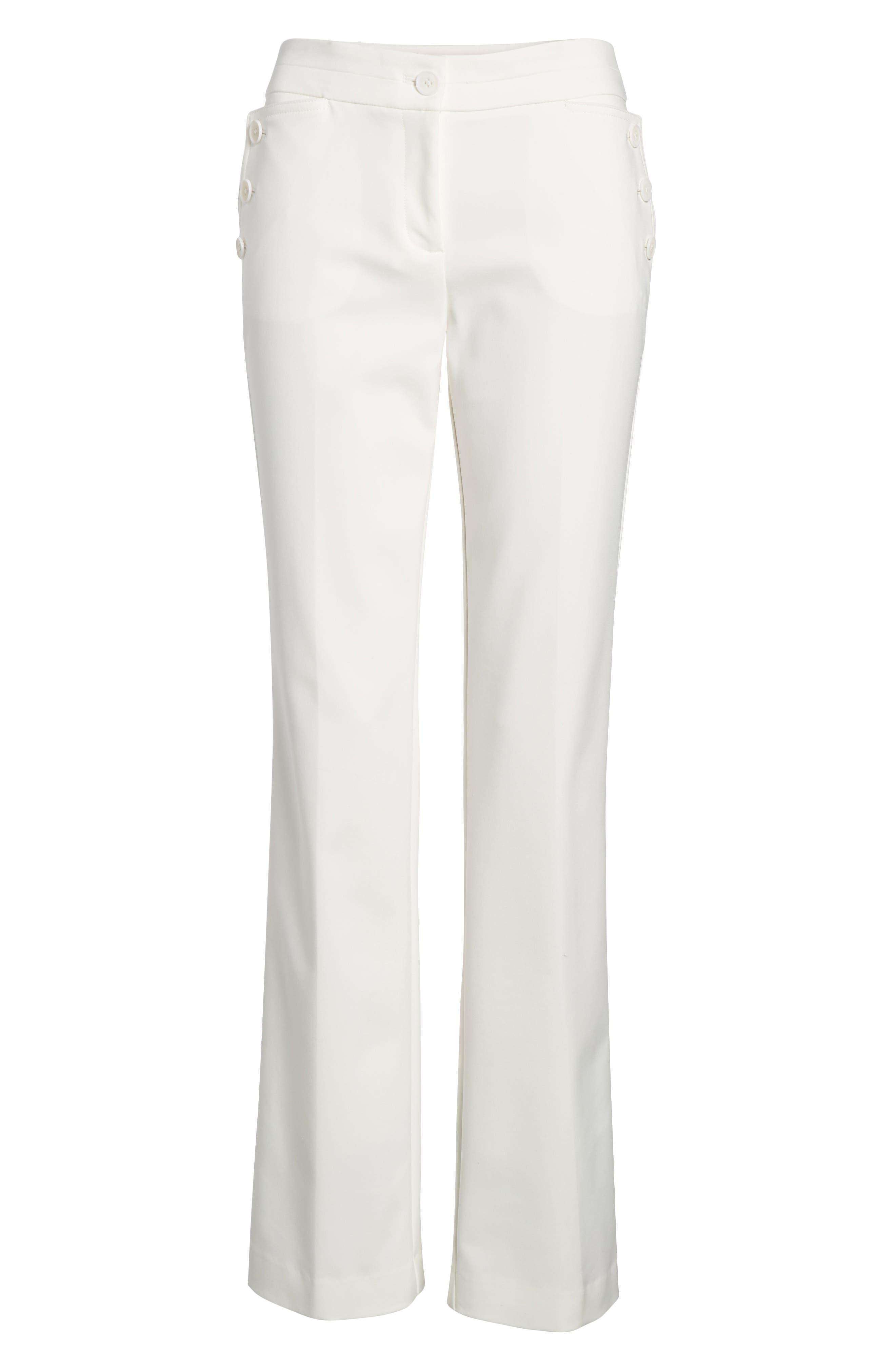 Flare Leg Sailor Pants,                             Alternate thumbnail 6, color,                             White