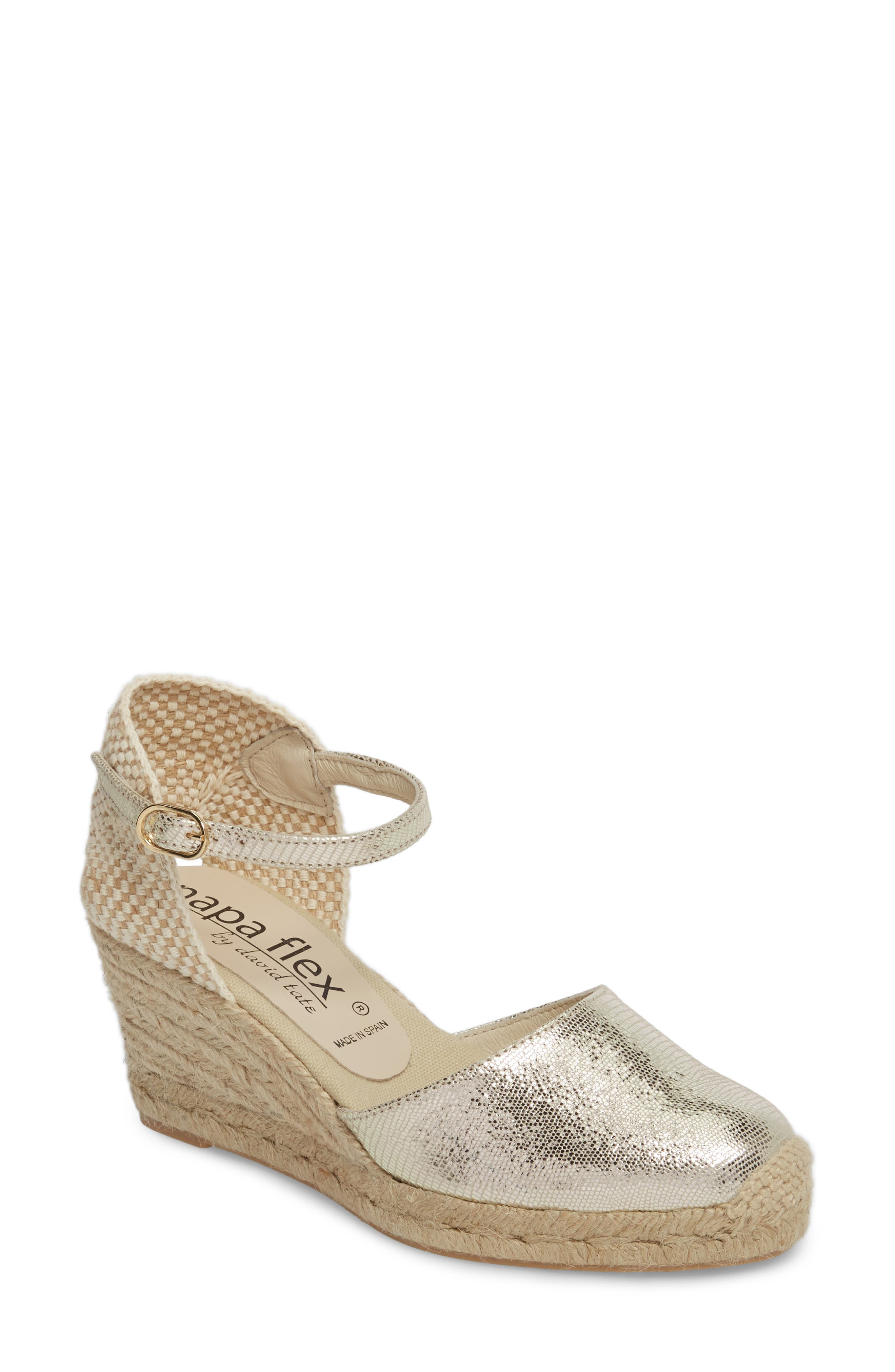 Europa Wedge Sandal,                             Main thumbnail 1, color,                             Gold Lizard Printed Leather