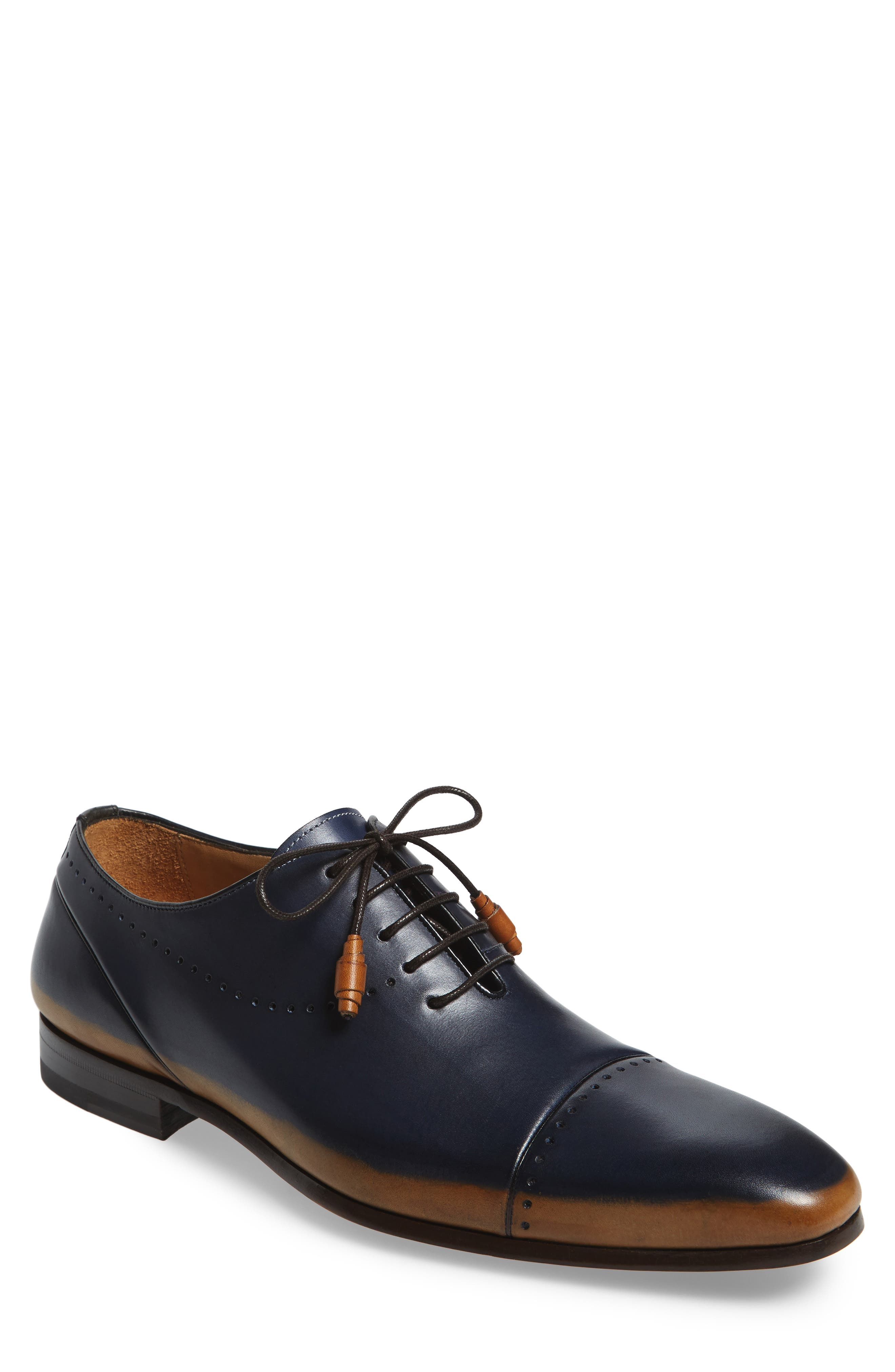 Icaro Cap Toe Oxford,                             Main thumbnail 1, color,                             Tan/ Blue Leather