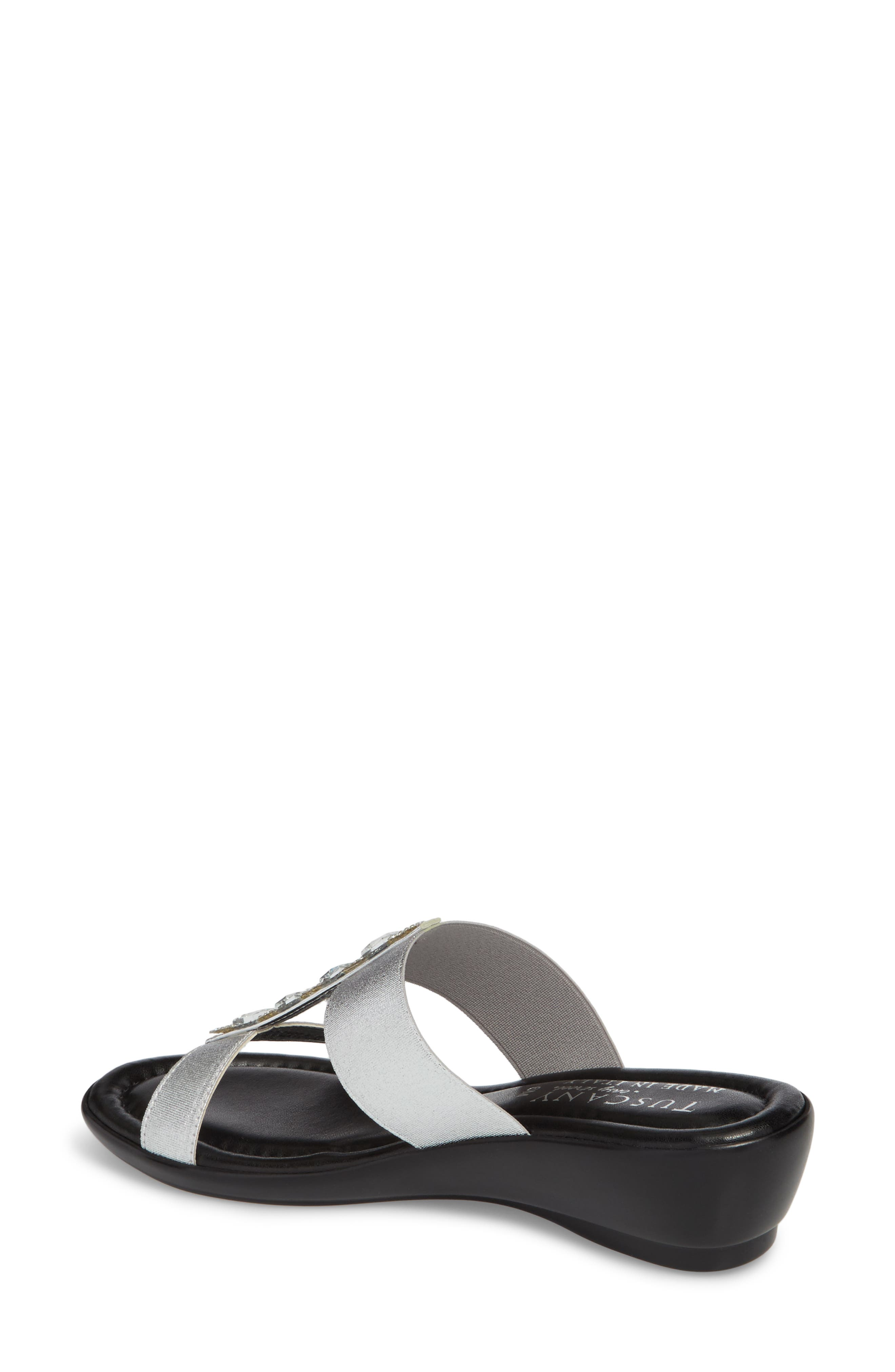 by Easy Street<sup>®</sup> Elba Embellished Slide Sandal,                             Alternate thumbnail 2, color,                             Silver Stretch Faux Leather