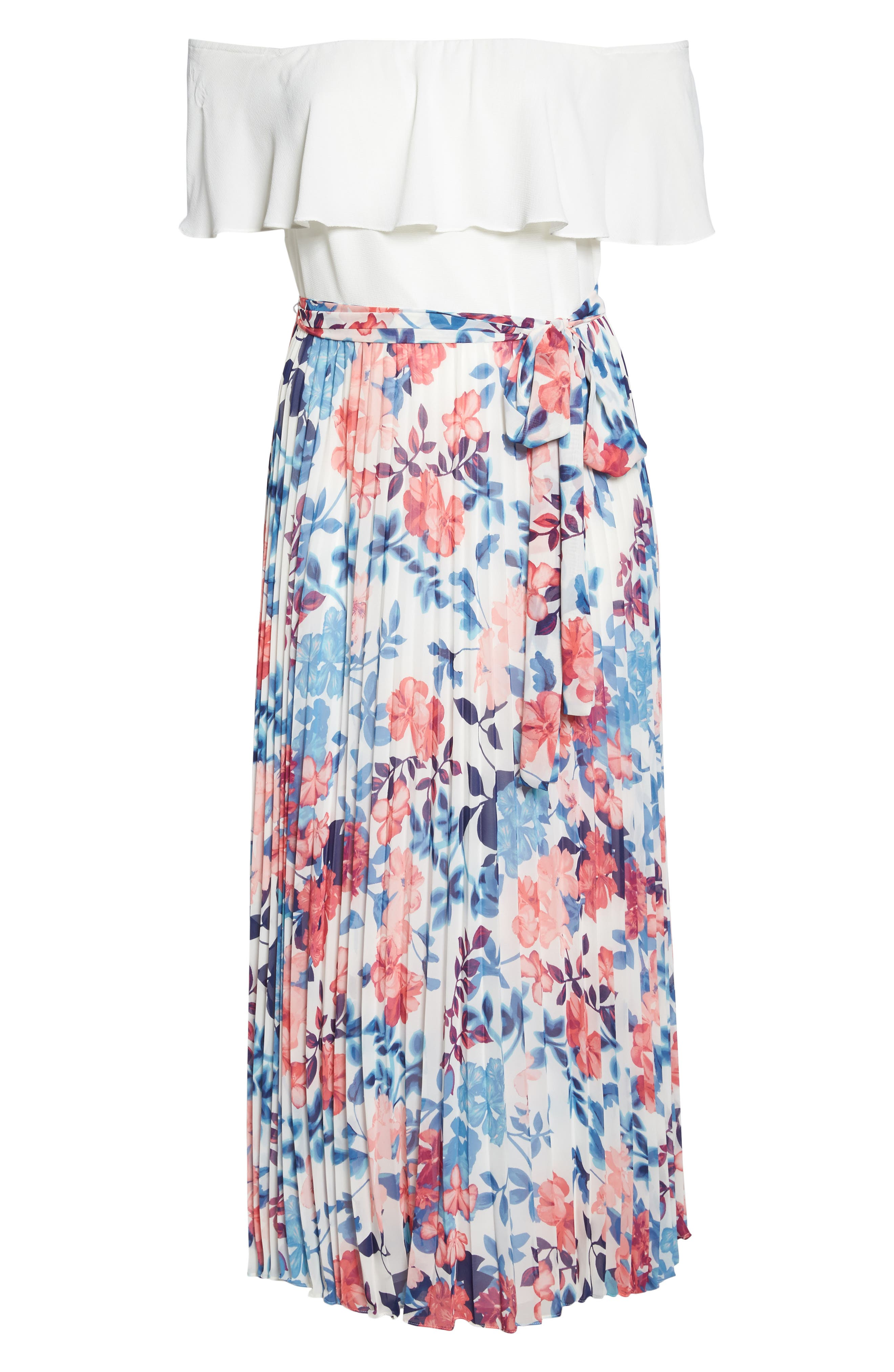 Off the Shoulder Maxi Dress,                             Alternate thumbnail 6, color,                             Ivory Blue