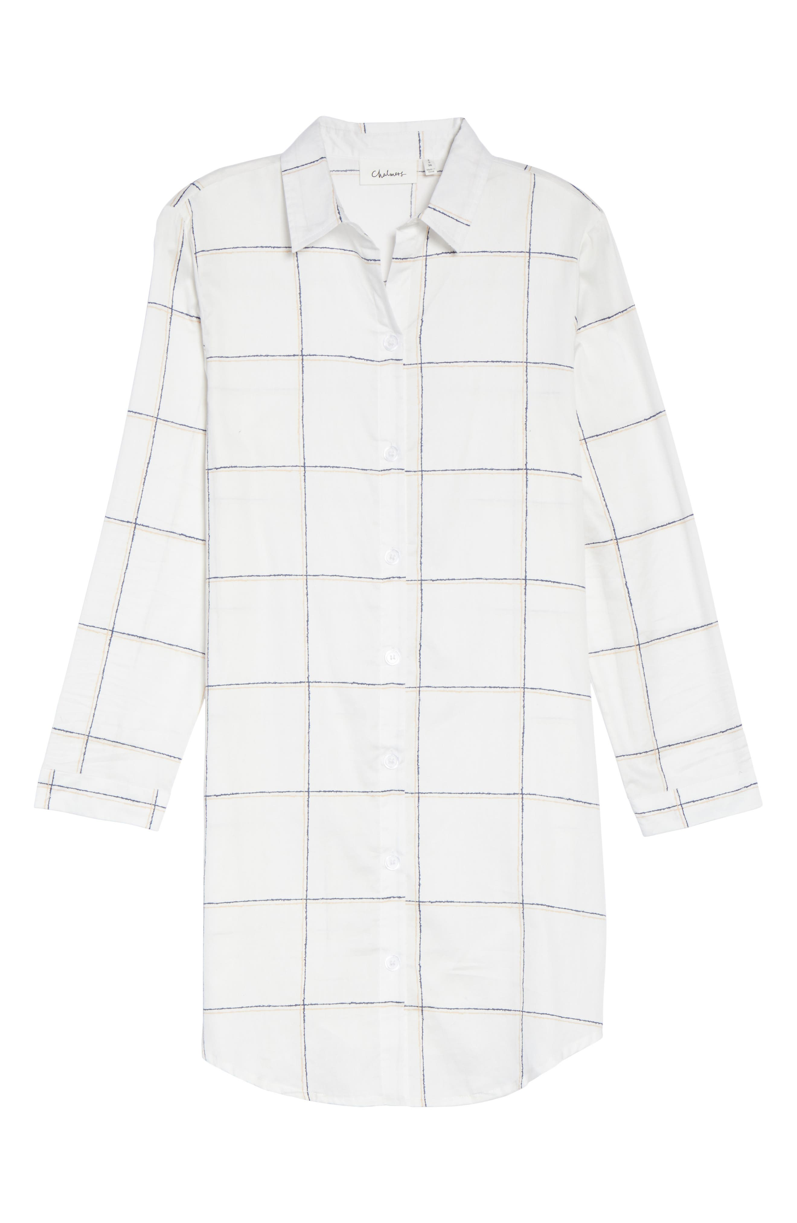 Evey Nightshirt,                             Alternate thumbnail 4, color,                             Coffee Check White