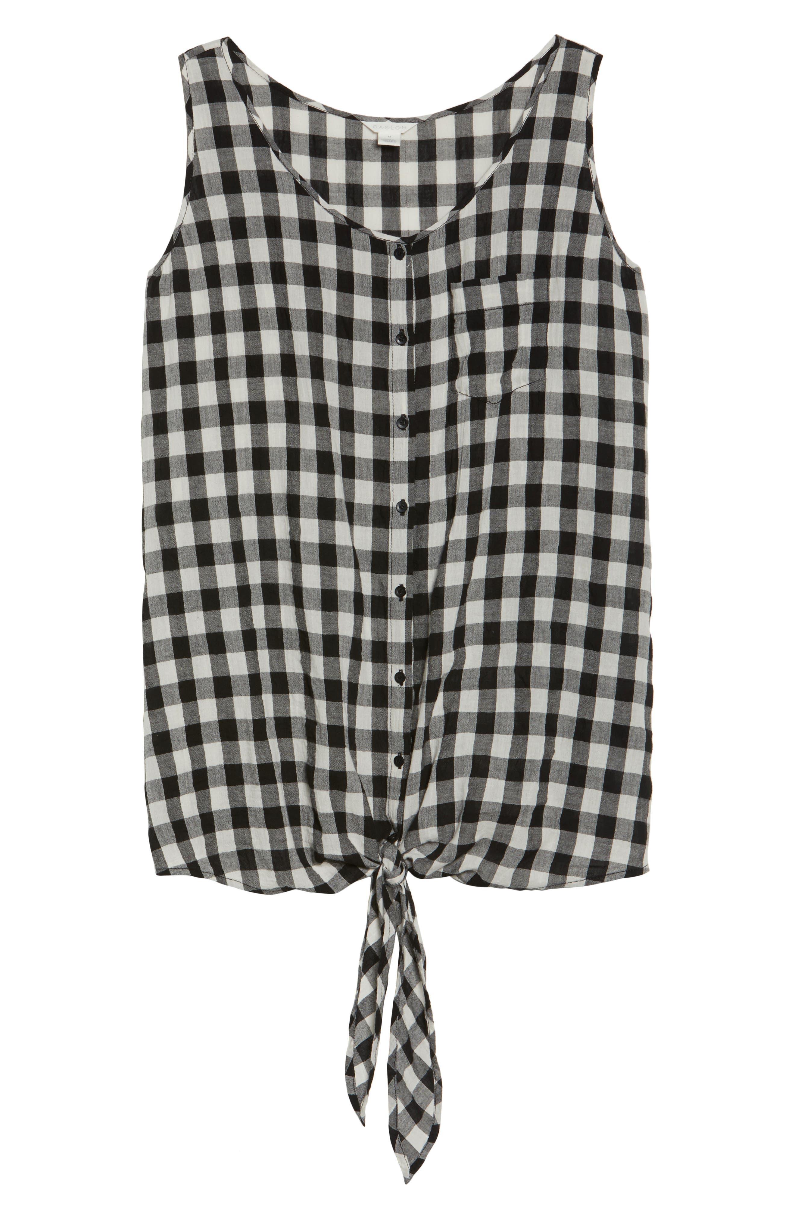 Tie Front Cotton Tank,                             Alternate thumbnail 7, color,                             Black- White Gingham