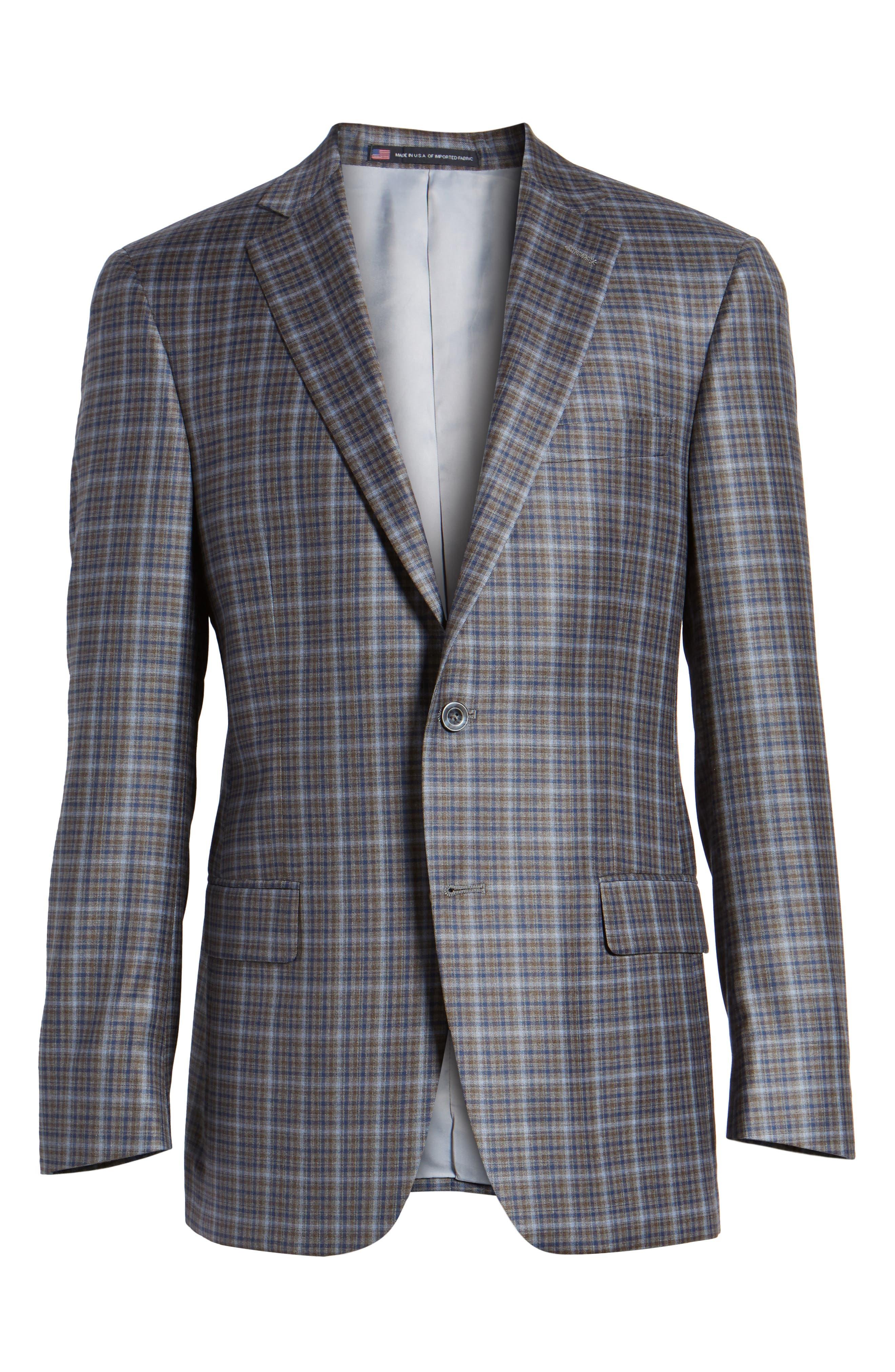 Classic Fit Plaid Wool Sport Coat,                             Alternate thumbnail 6, color,                             Tan