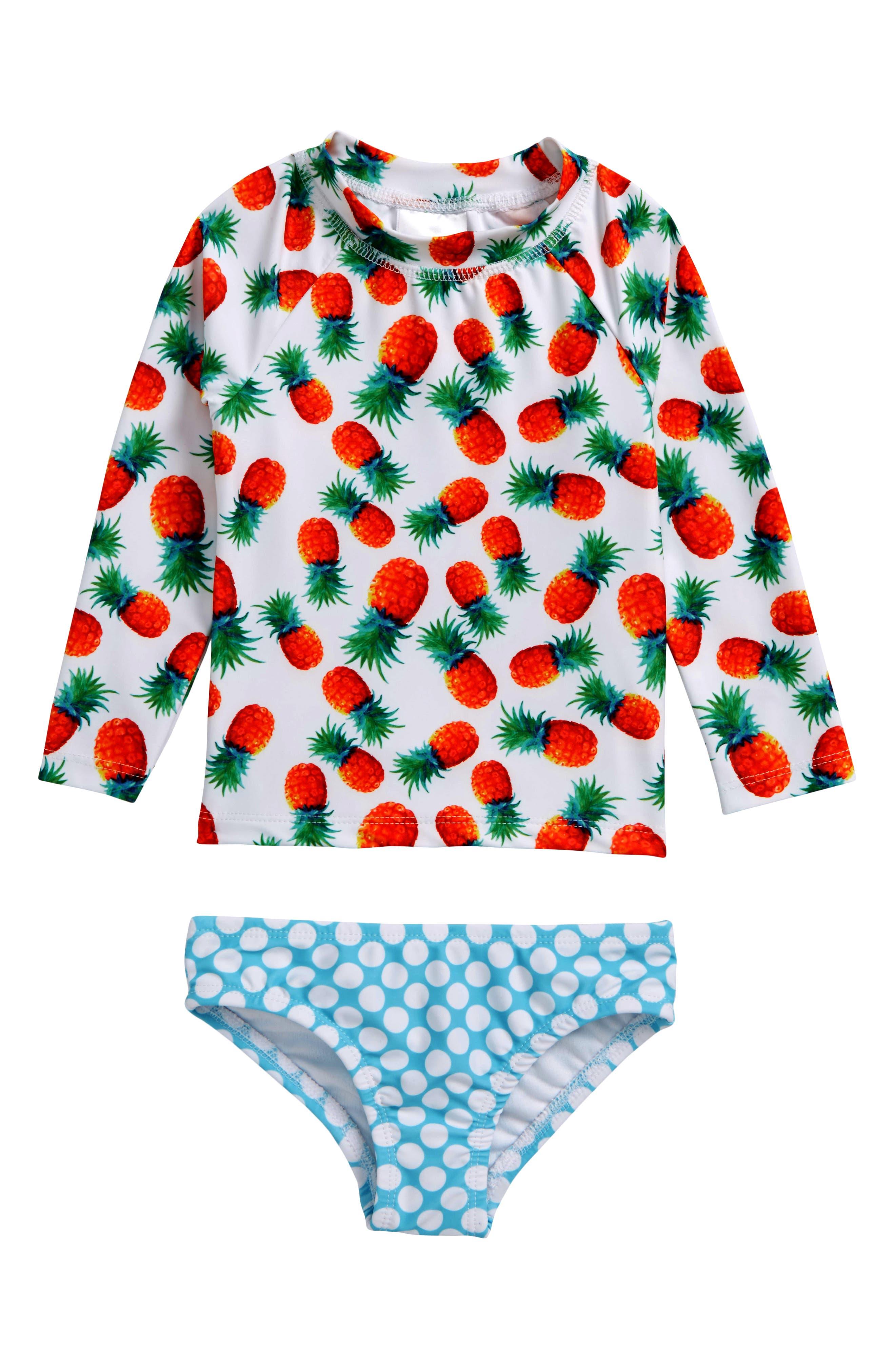 Pineapple Disco Two-Piece Rashguard Swimsuit,                             Main thumbnail 1, color,                             White Multi