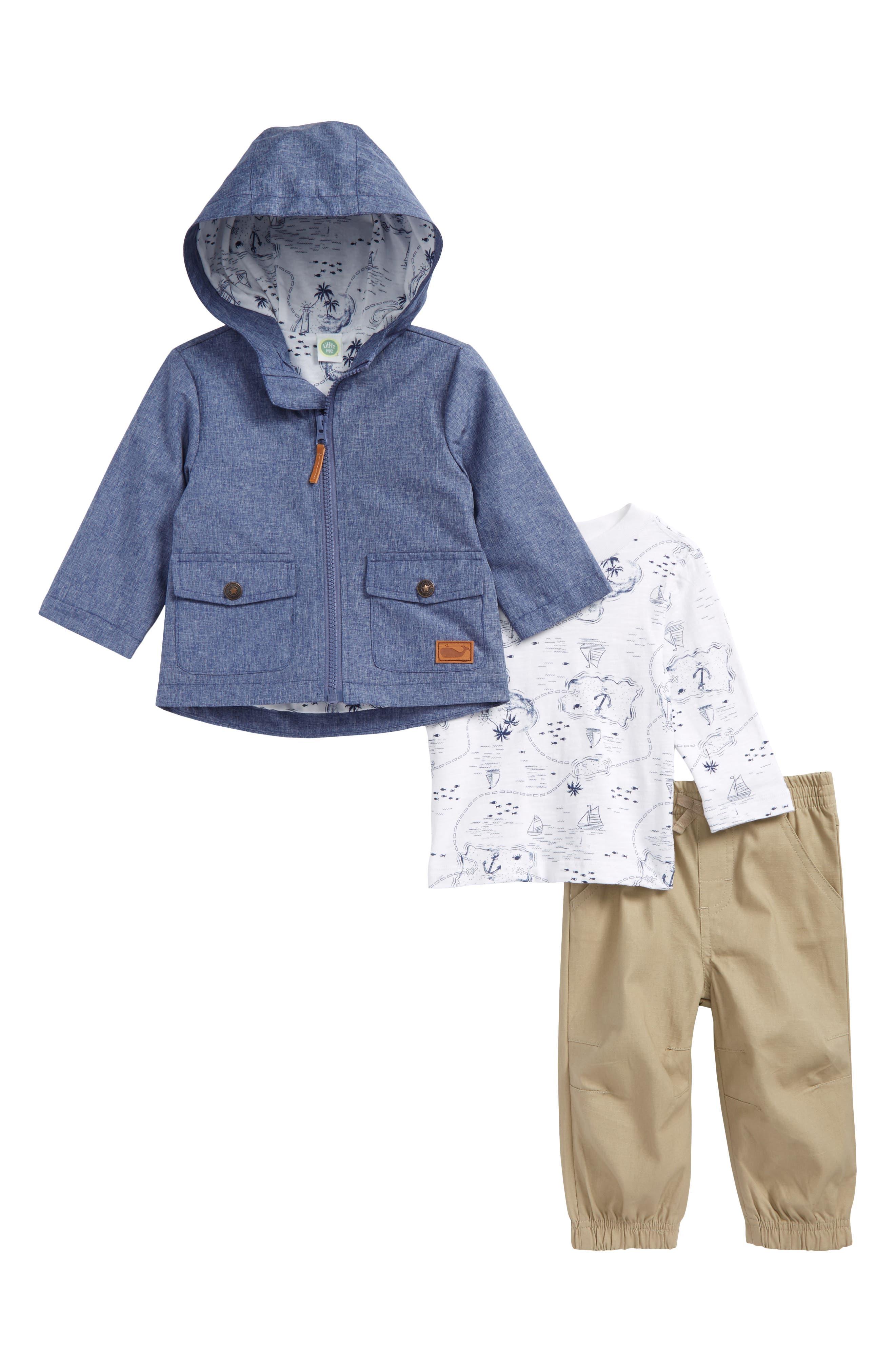Chambray Hooded Jacket, T-Shirt & Pants Set,                             Main thumbnail 1, color,                             Khaki