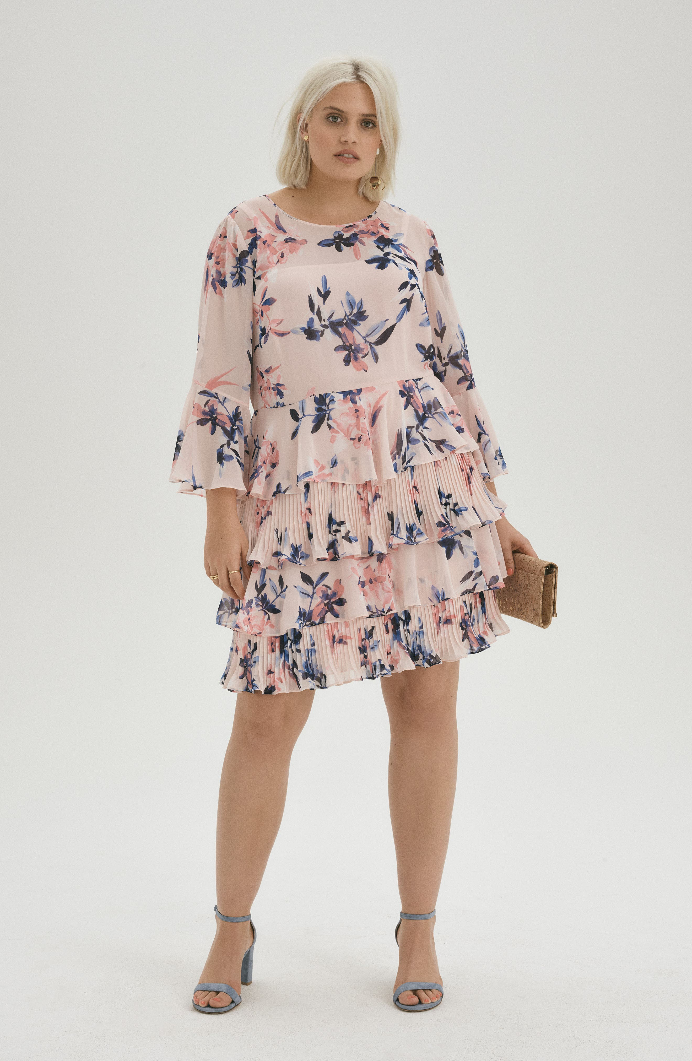 Bell Sleeve Tiered Ruffle Dress,                             Alternate thumbnail 2, color,                             Blush