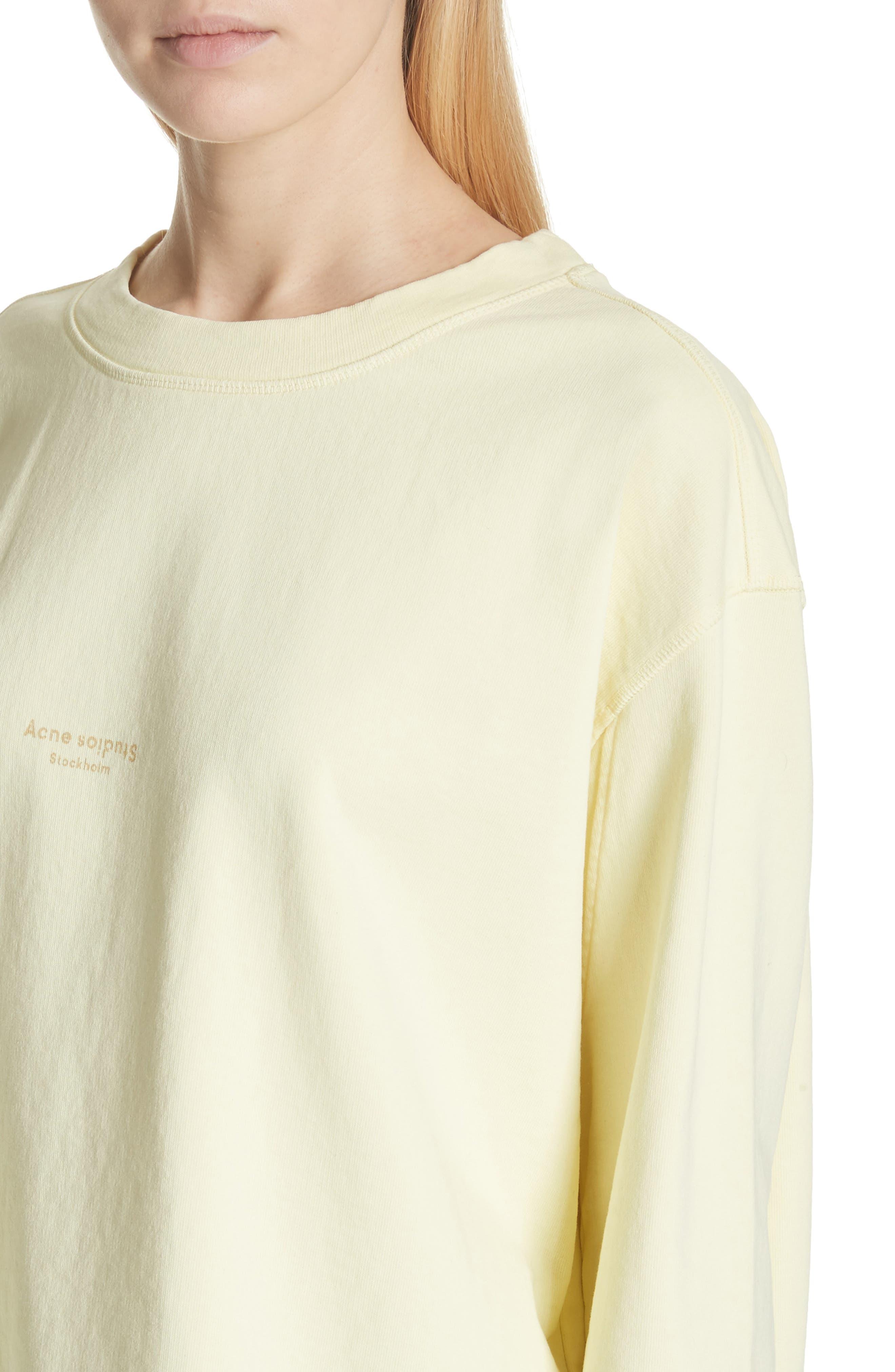 Lynn Small Logo Sweatshirt,                             Alternate thumbnail 4, color,                             Pale Yellow