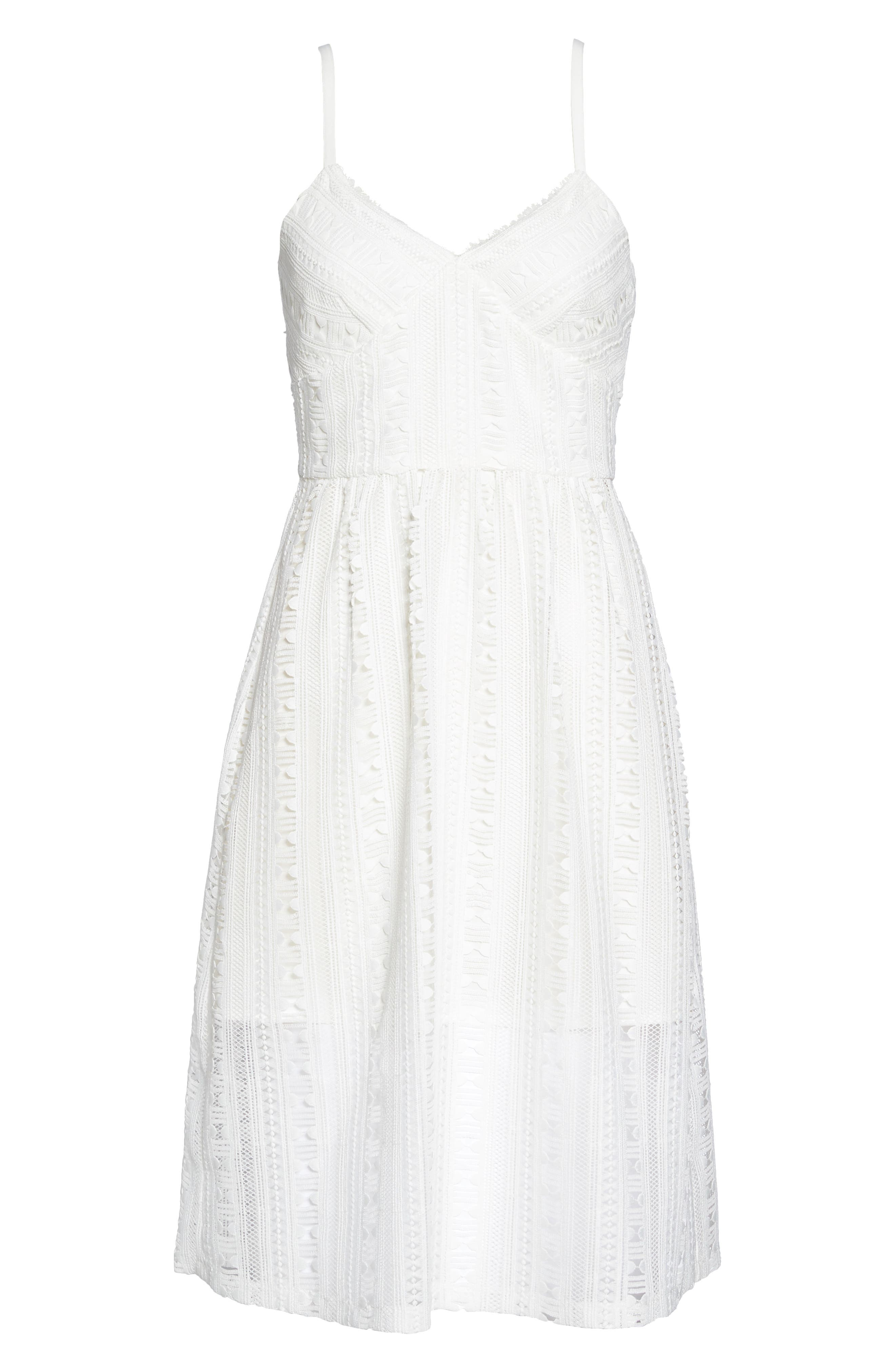 Belissimo Lace Fit & Flare Midi Dress,                             Alternate thumbnail 7, color,                             White