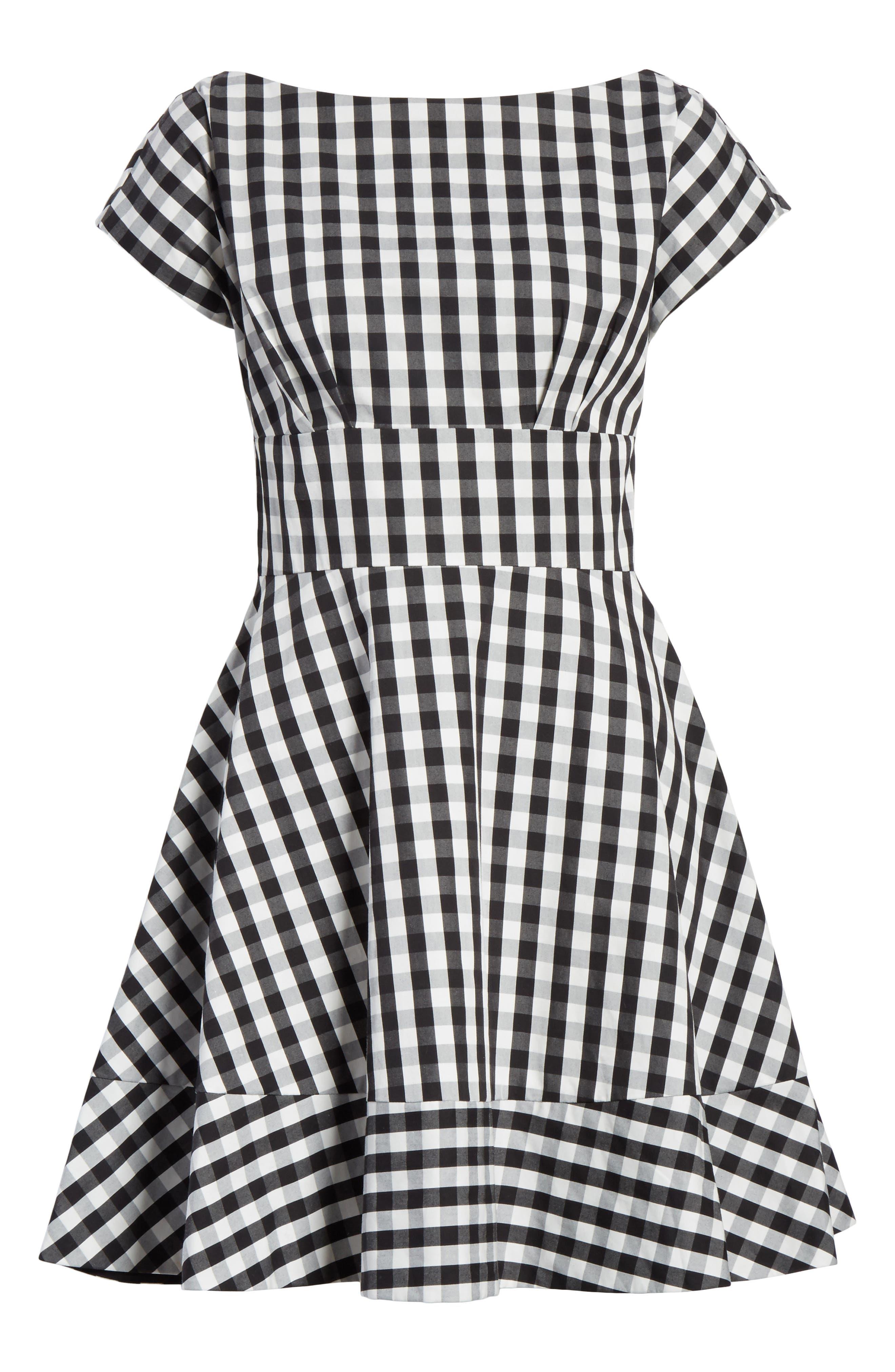 fiorella gingham fit & flare dress,                             Alternate thumbnail 6, color,                             Black