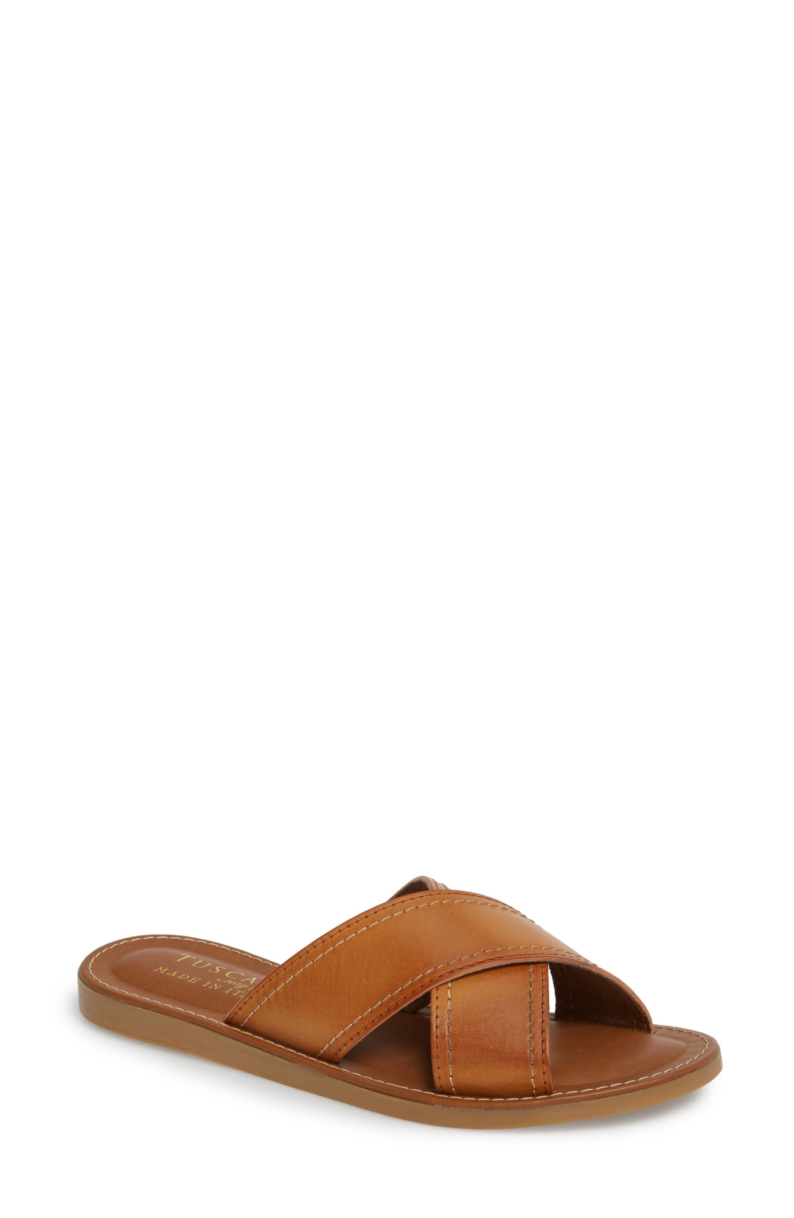 Womens Leather Tan Brown Slippers Wide Fitting Size 7 in Box