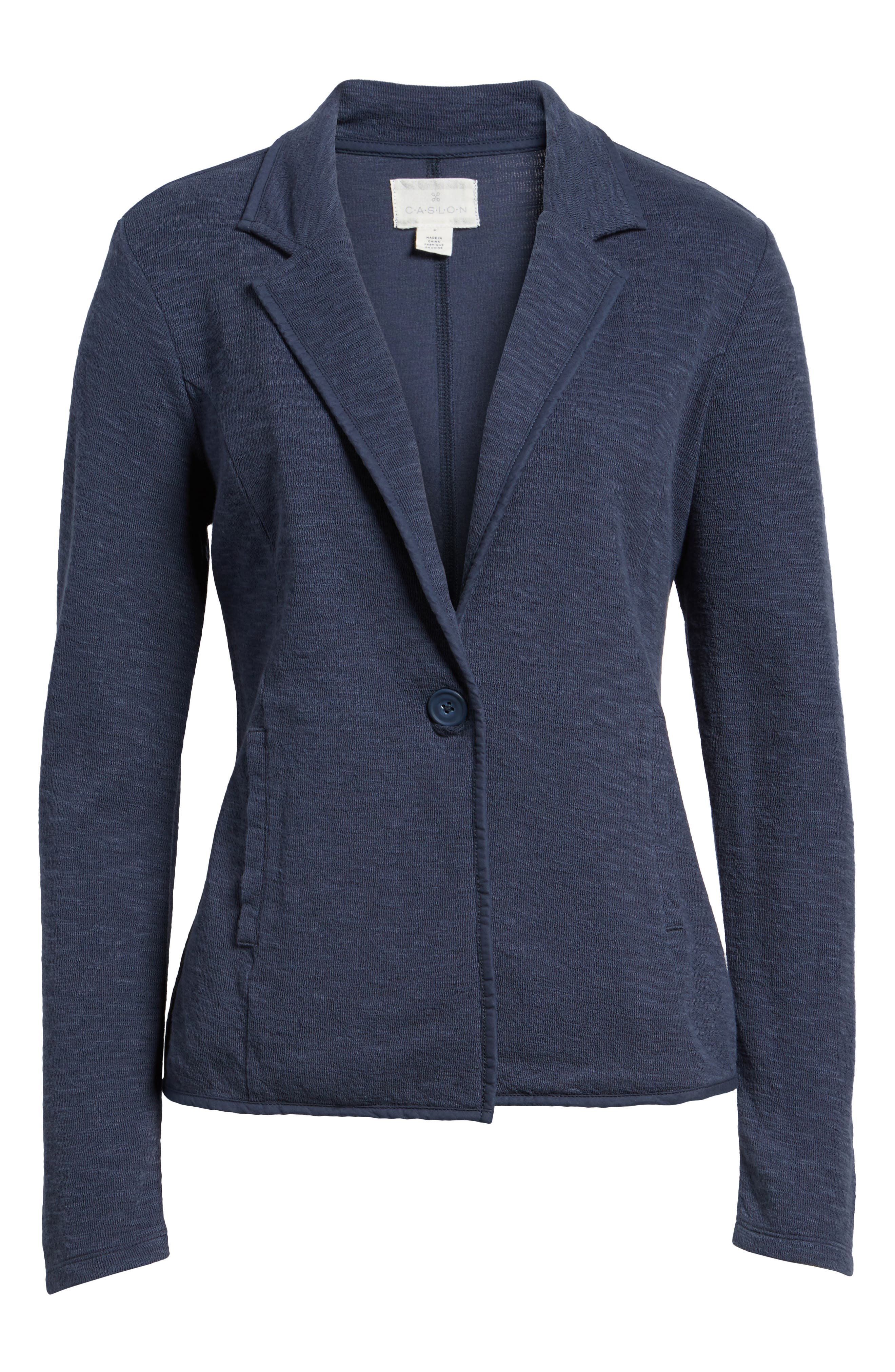 Alternate Image 6  - Caslon® One-Button Knit Blazer (Regular & Petite)