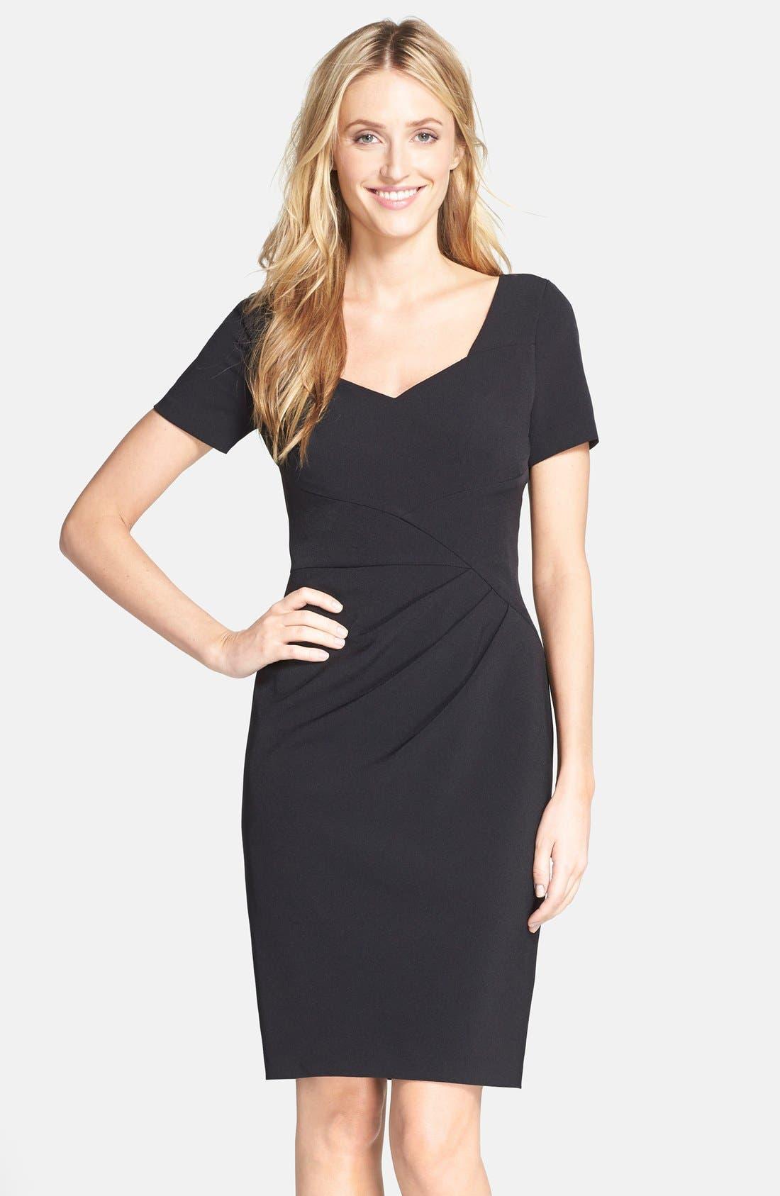 Alternate Image 1 Selected - Adrianna Papell Pleated Crepe Sheath Dress