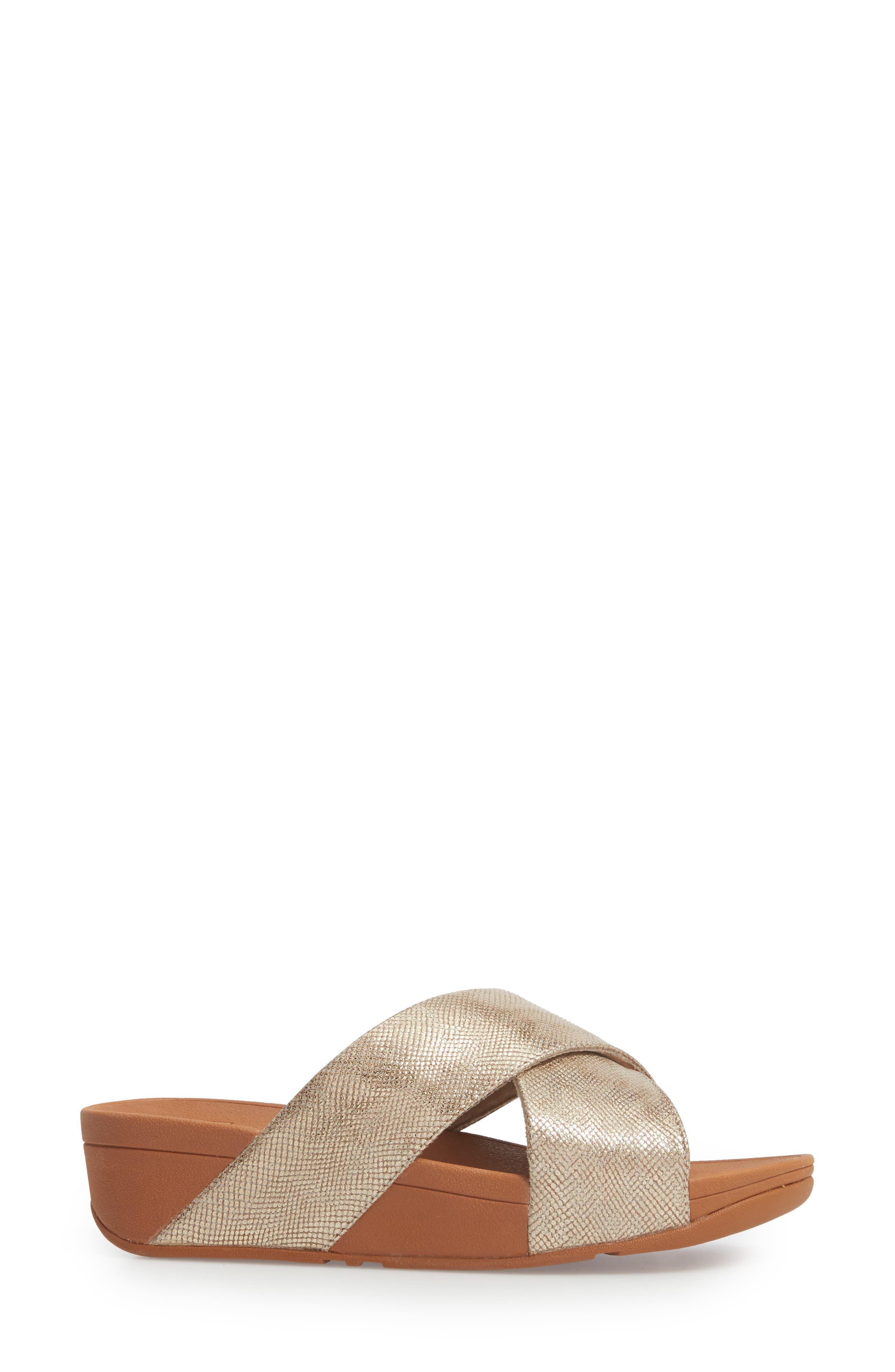 Lulu Cross Slide Sandal,                             Alternate thumbnail 3, color,                             Gold Shimmer Print