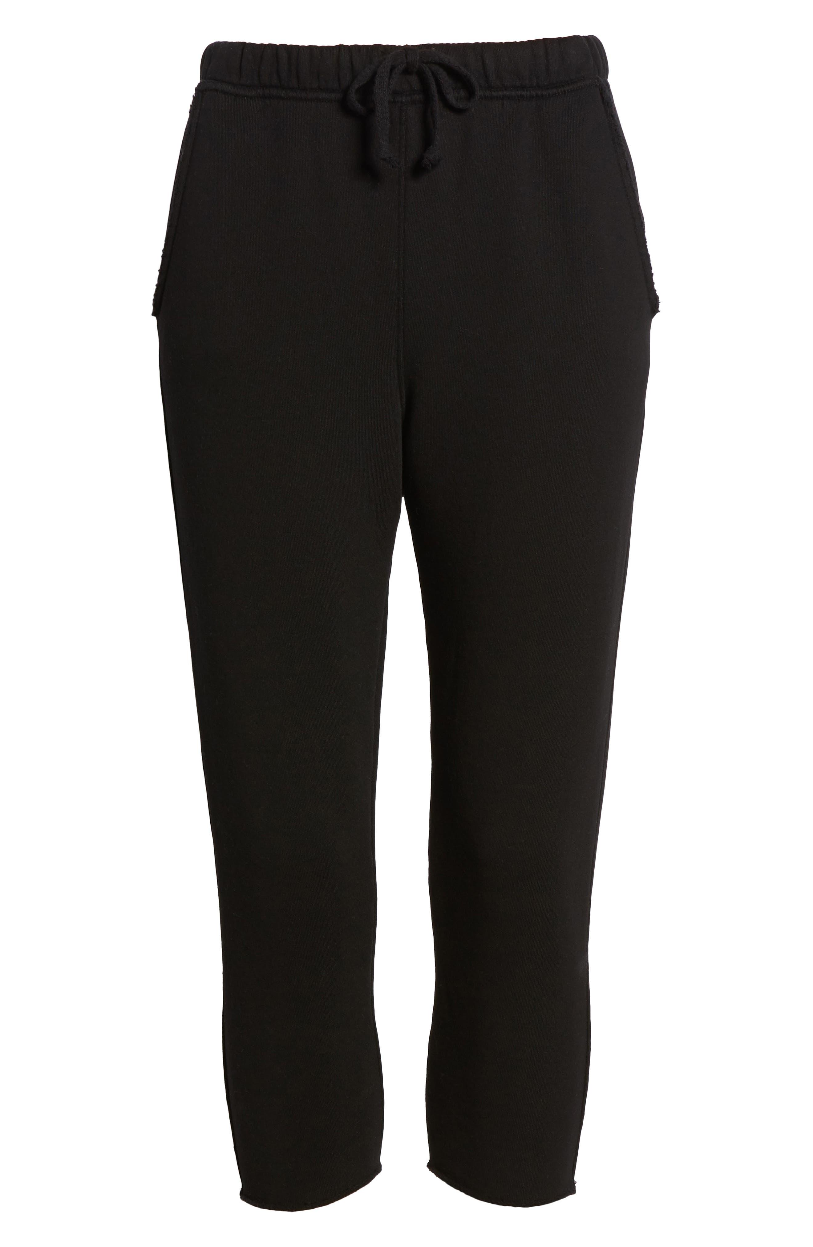 Raw Hem Crop Sweatpants,                             Alternate thumbnail 7, color,                             Blackout
